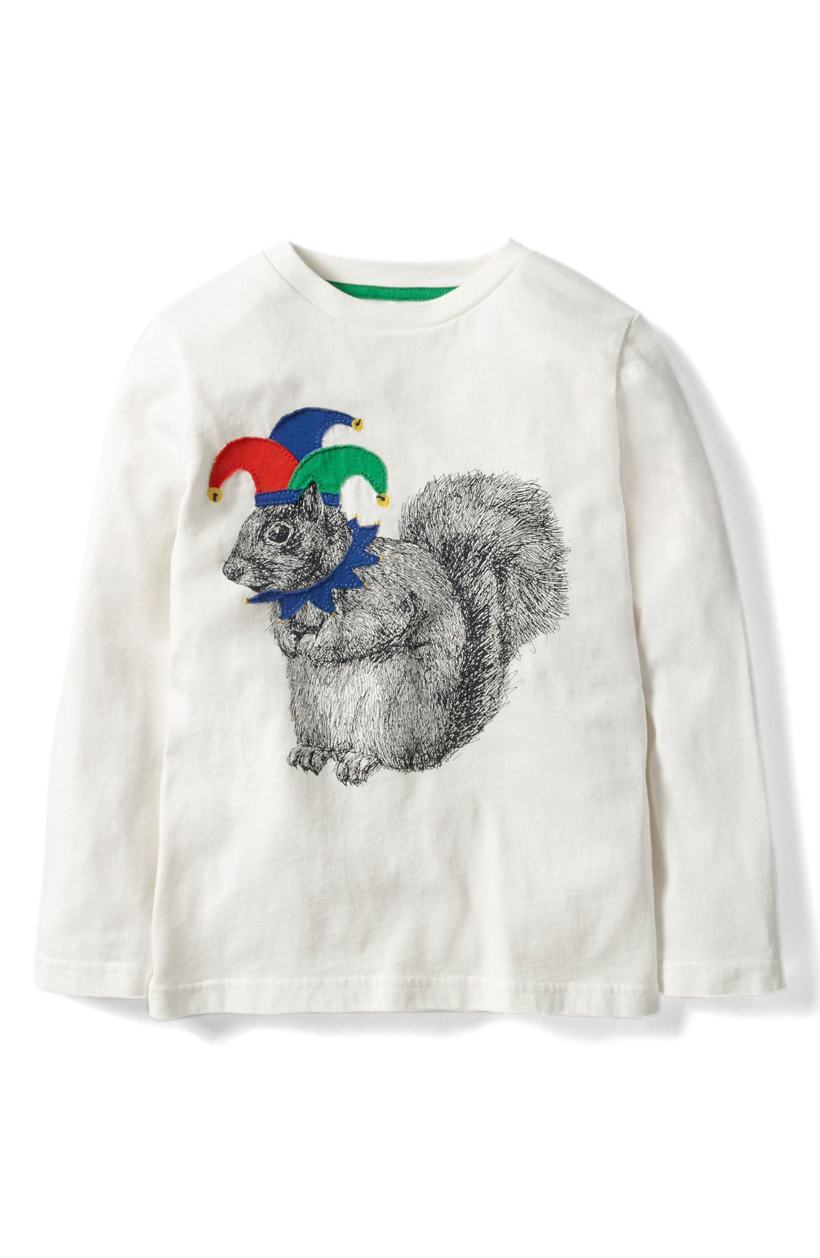 Animals Rule Long Sleeve T-Shirt,                             Main thumbnail 1, color,                             Ecru Squirrel Jester