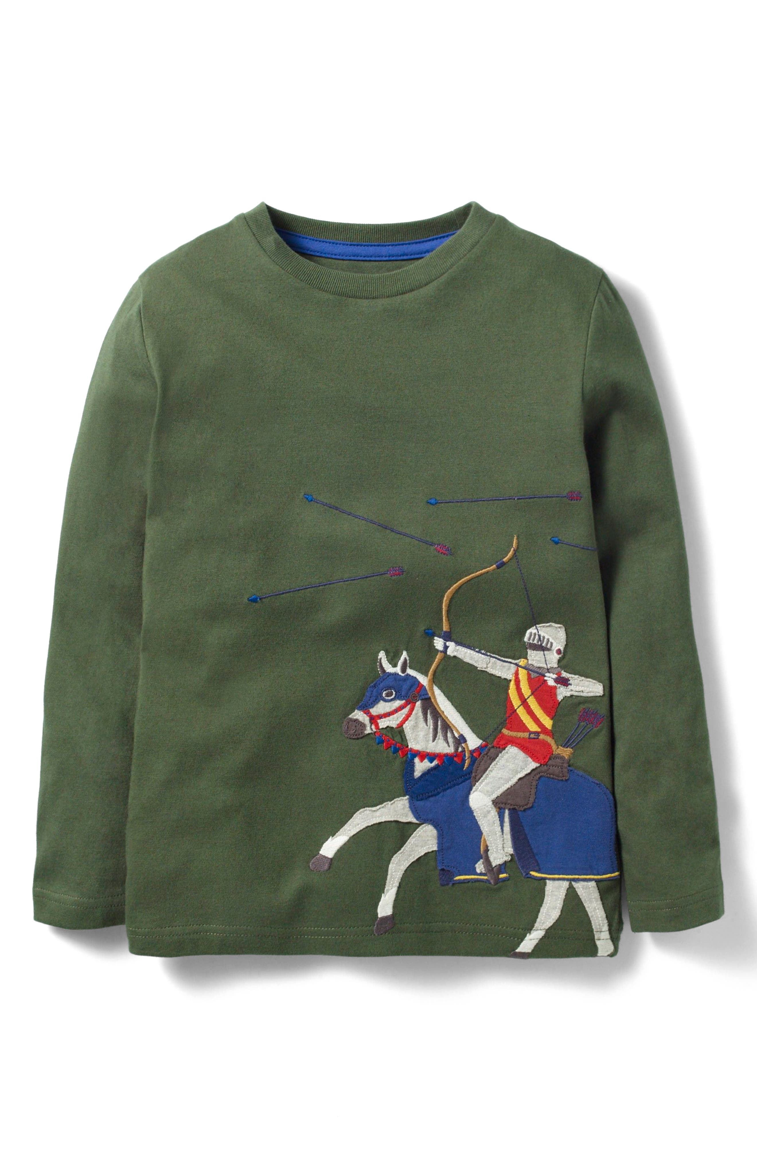 Noble Knight Embroidered T-Shirt,                             Main thumbnail 1, color,                             Willow Green Archer