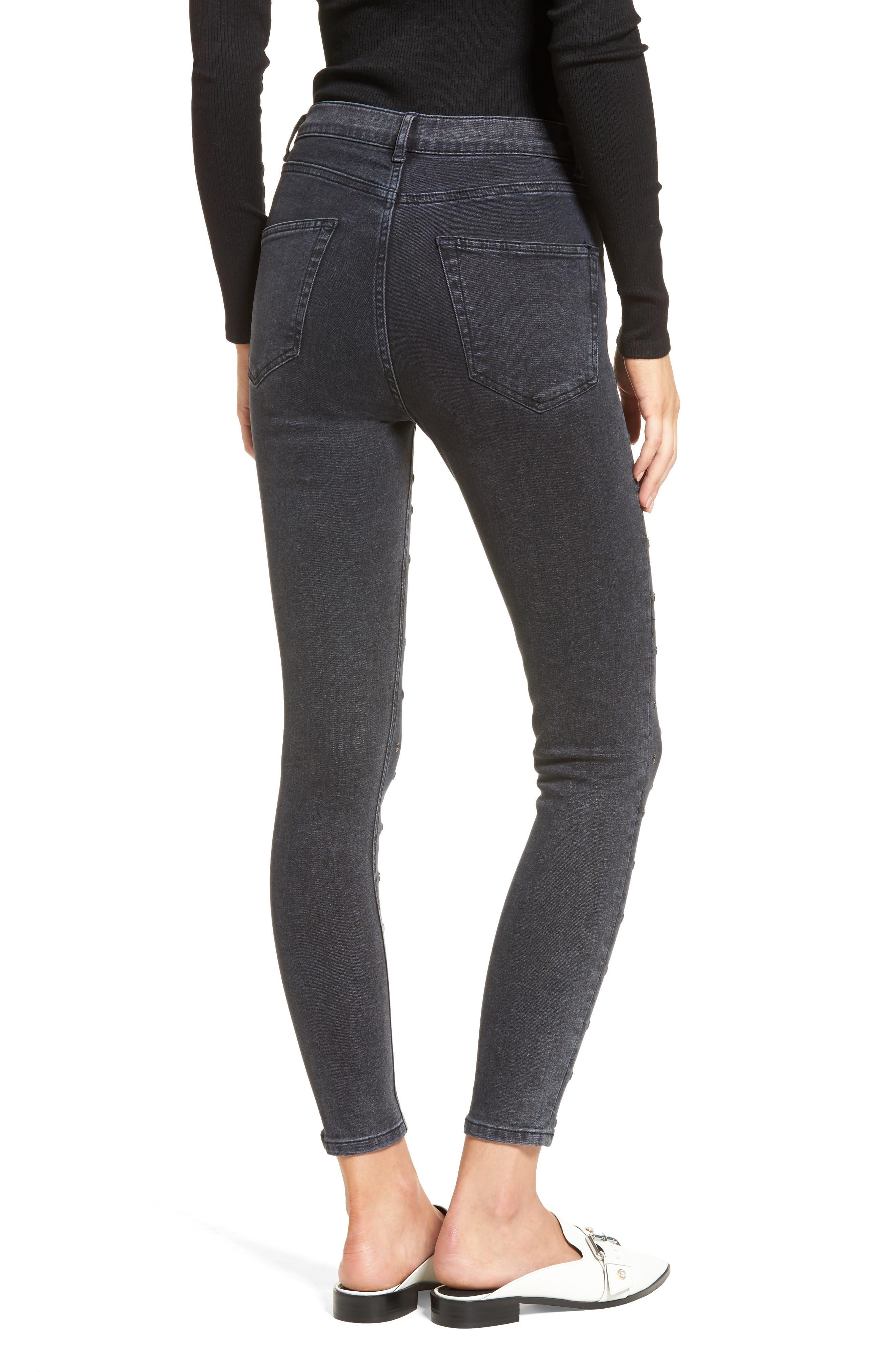 Jamie Grommet Ankle Skinny Jeans,                             Alternate thumbnail 3, color,                             Washed Black