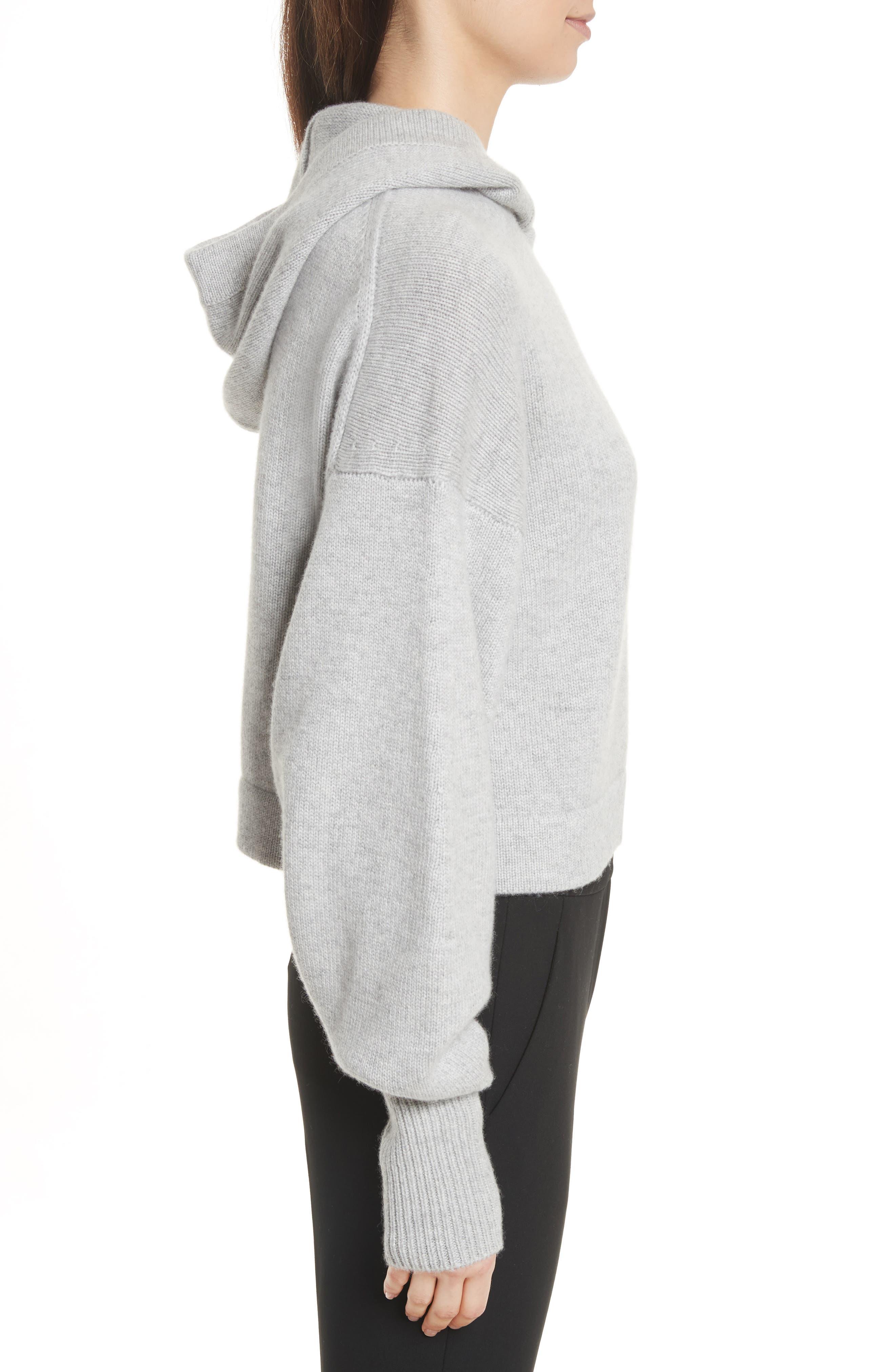 Blouson Sleeve Cashmere Hoodie,                             Alternate thumbnail 4, color,                             Heather Grey