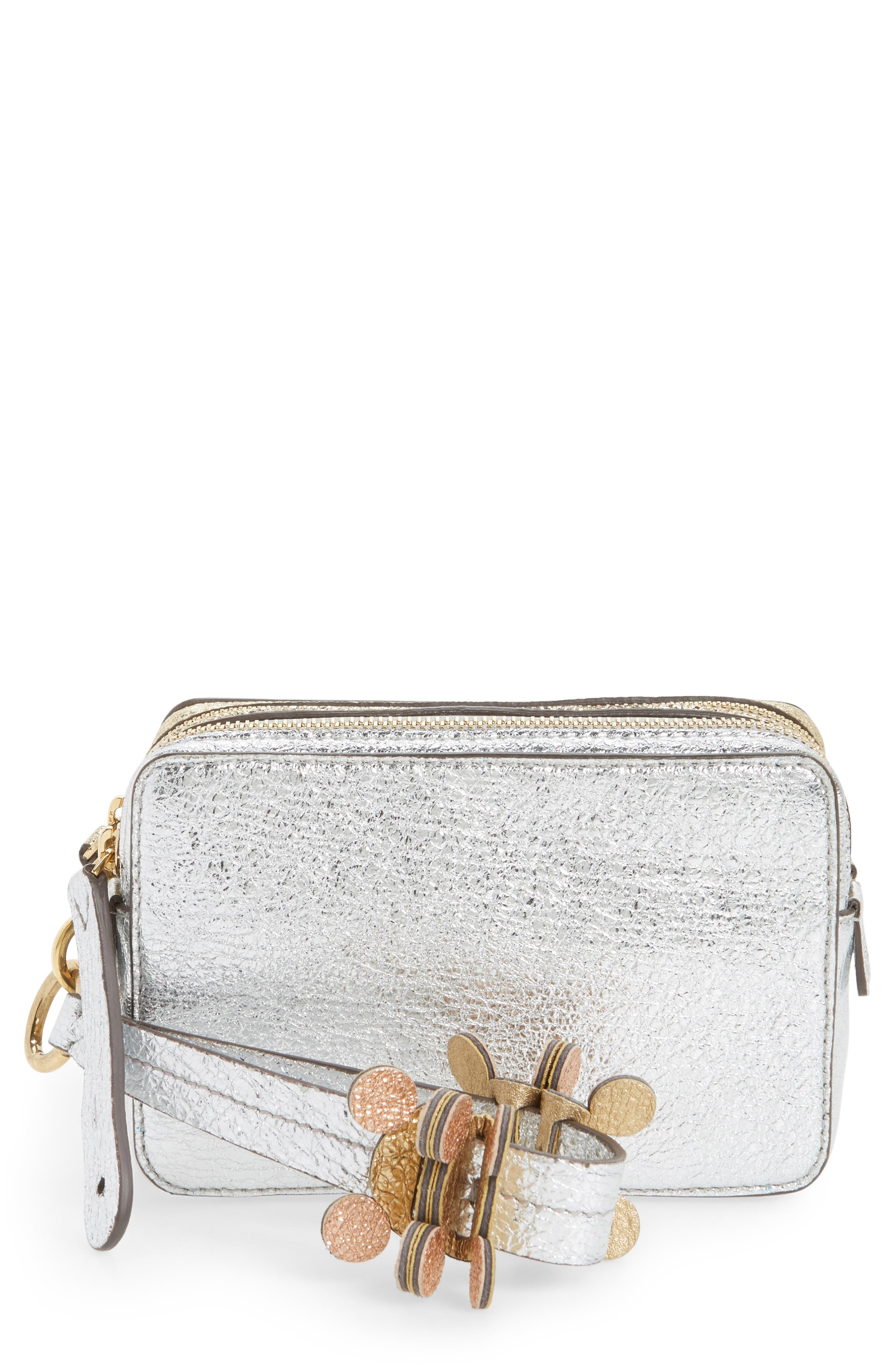 Anya Hindmarch The Double Stack Metallic Leather Clutch
