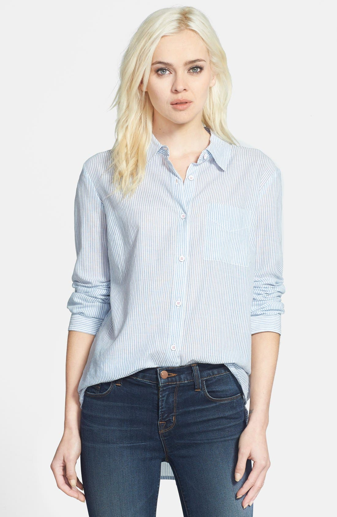 Back Pleat Pinstripe Shirt,                         Main,                         color, Navy Stripe