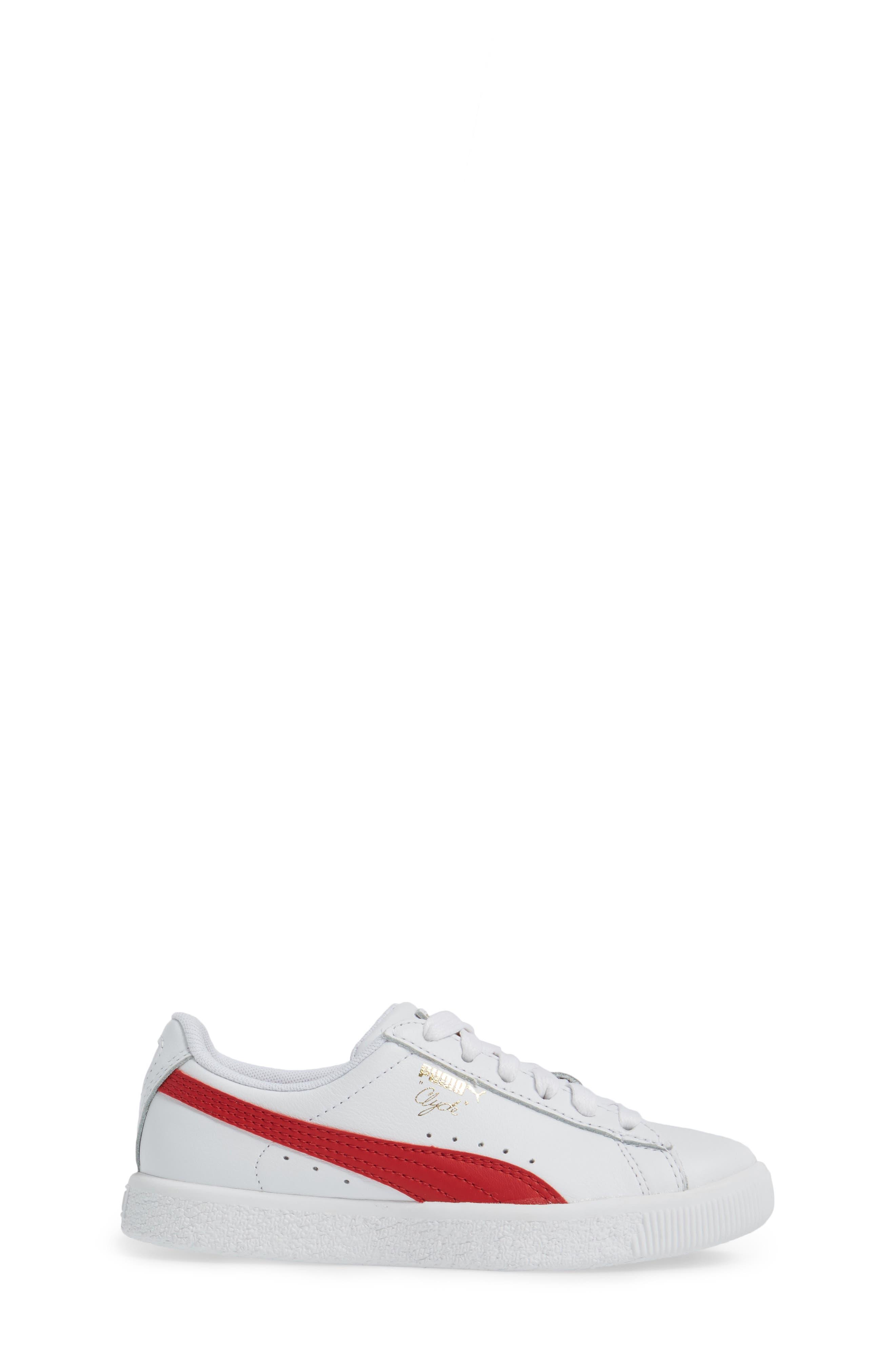 Clyde Core Foil Sneaker,                             Alternate thumbnail 3, color,                             White/ Cherry