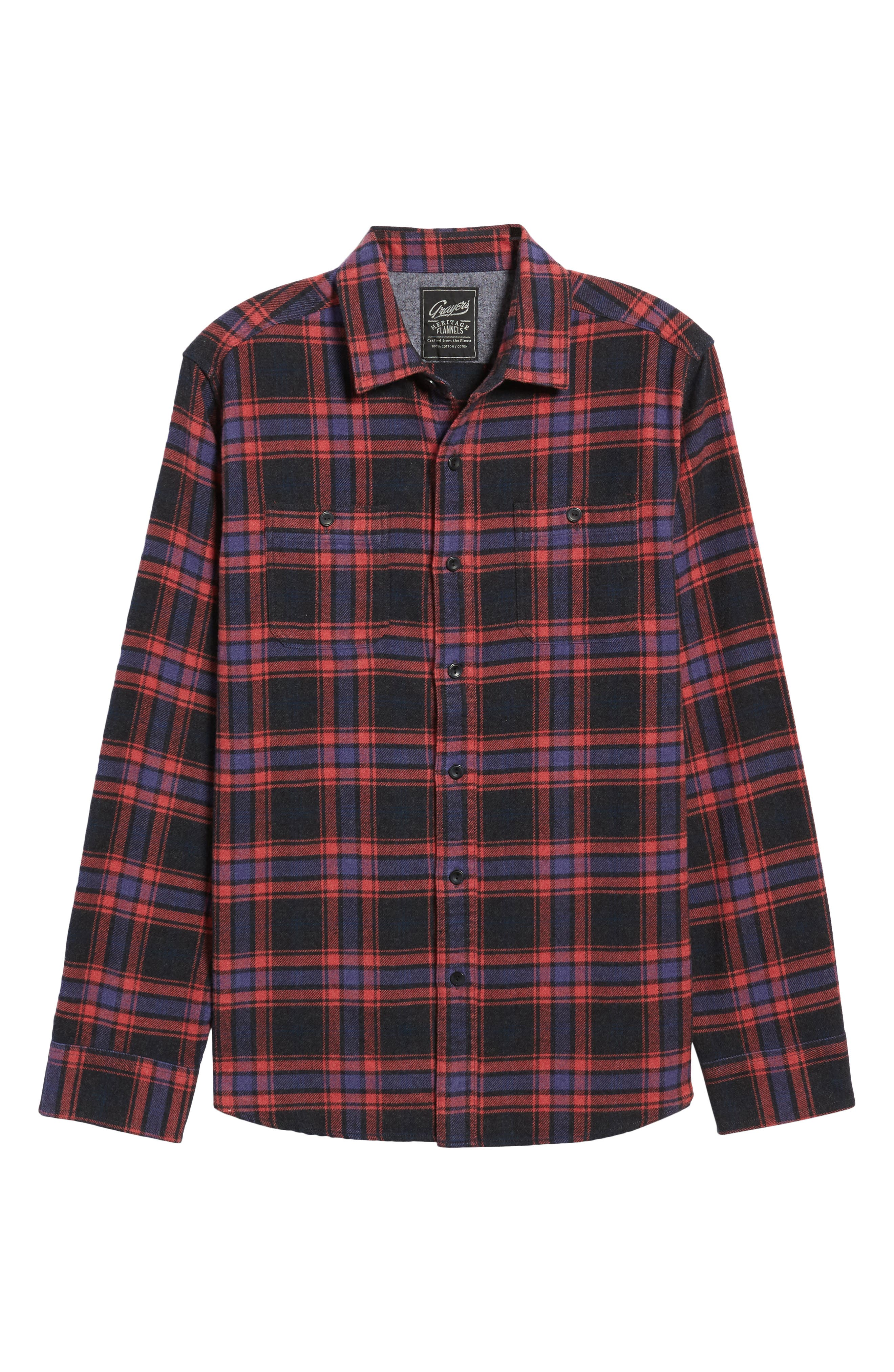 Chaucer Heritage Flannel Shirt,                             Alternate thumbnail 6, color,                             Charcoal Red