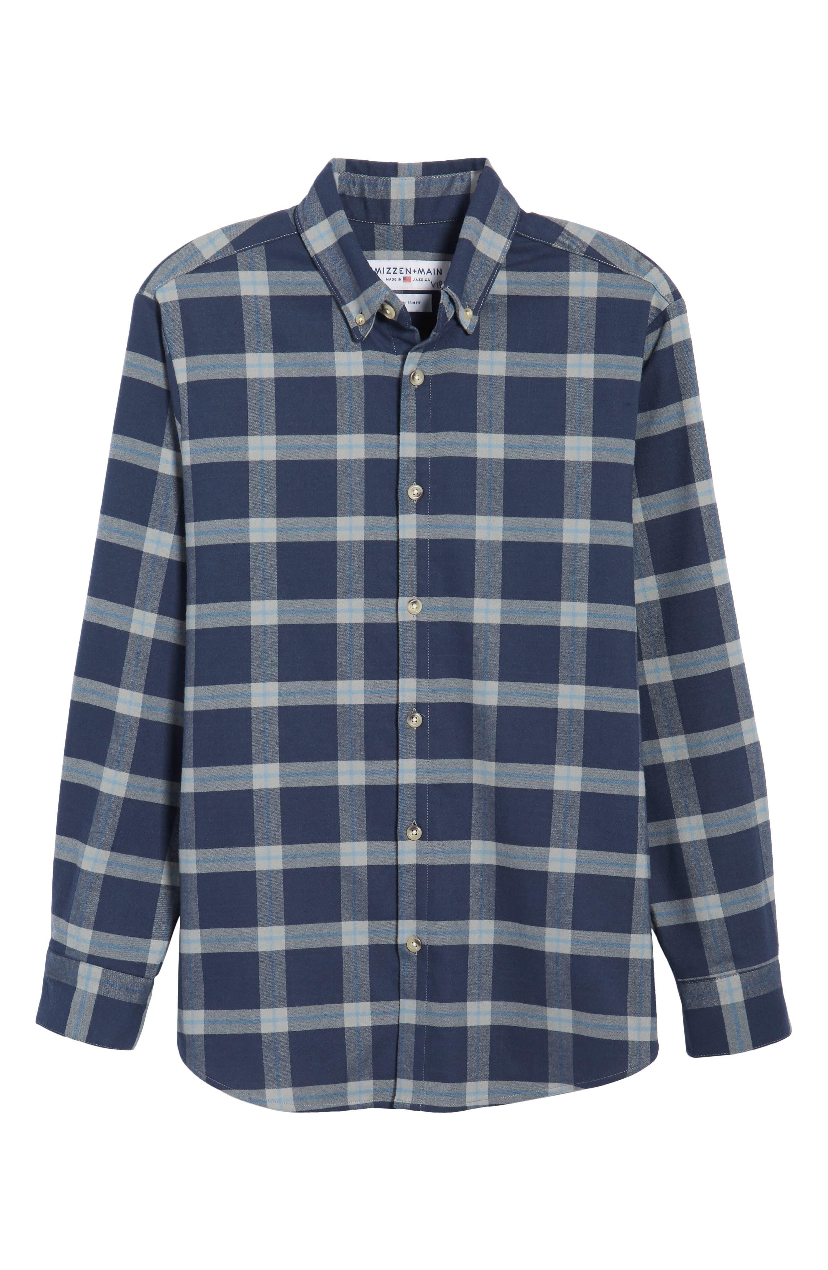 Fairview Slim Fit Plaid Flannel Sport Shirt,                             Alternate thumbnail 6, color,                             Blue