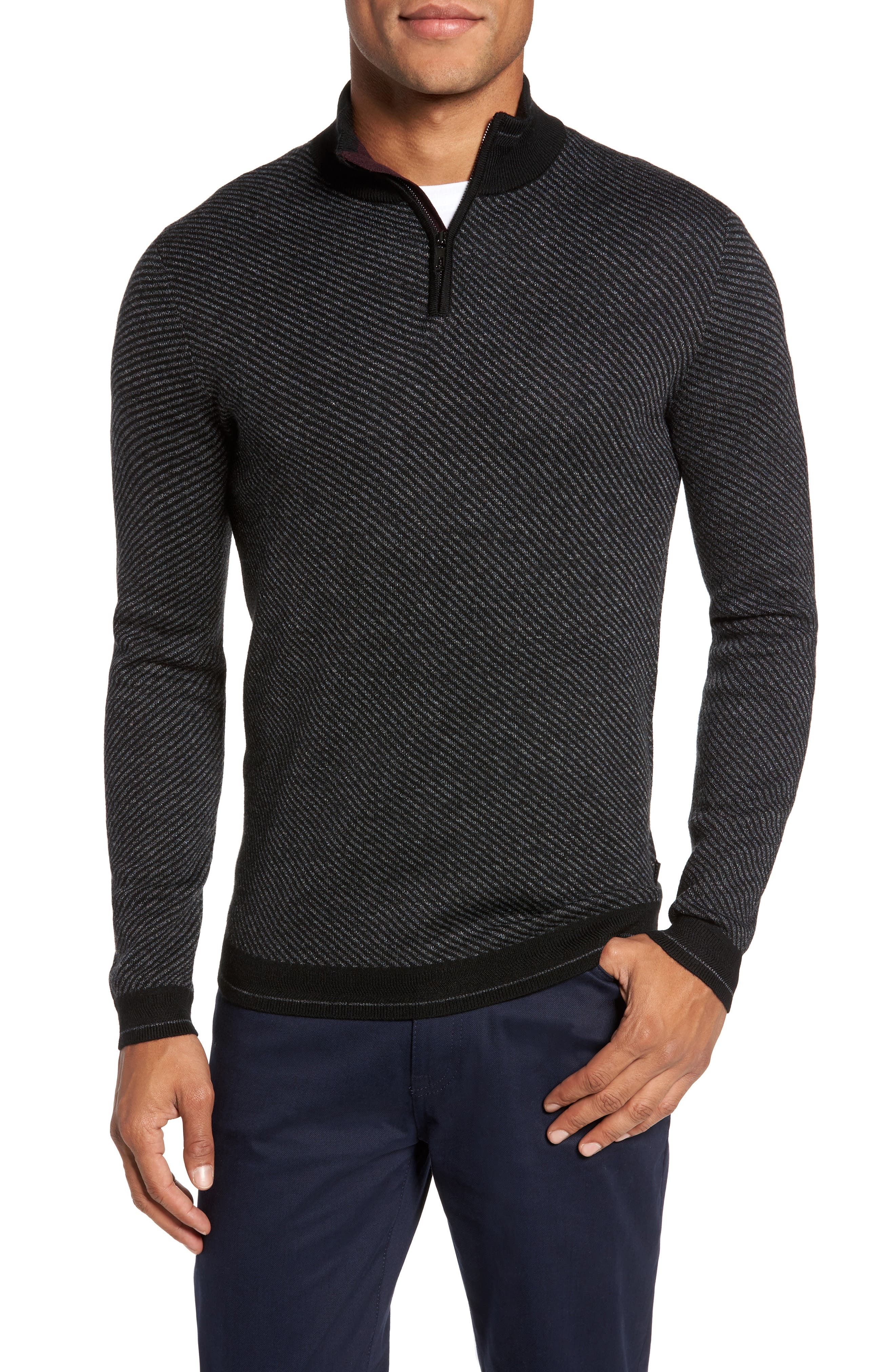 Ted Baker London Stripe Quarter Zip Sweater
