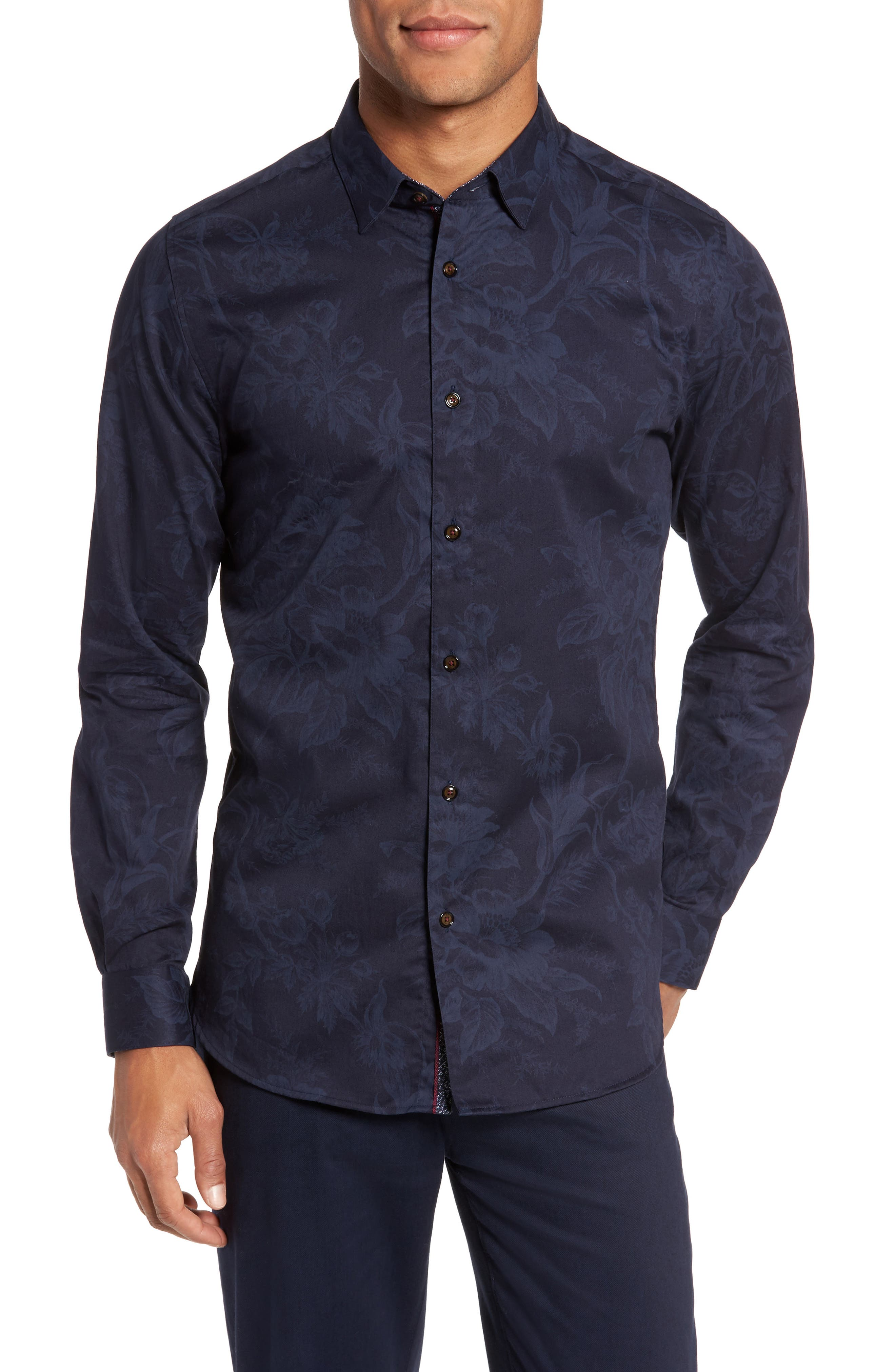 Modern Slim Fit Floral Print Sport Shirt,                         Main,                         color, Navy