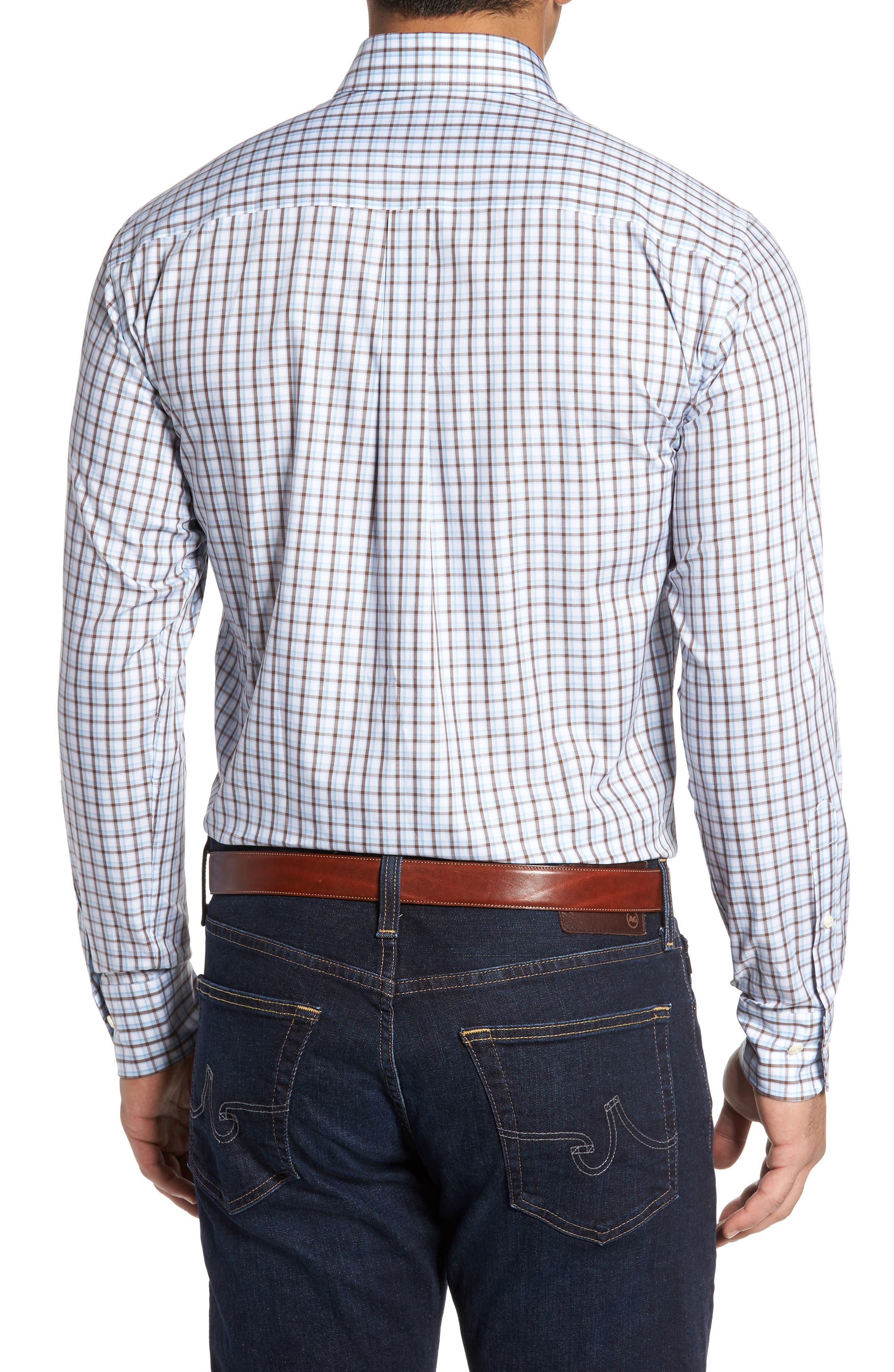 Regular Fit Crisp Pane Sport Shirt,                             Alternate thumbnail 3, color,                             Branch