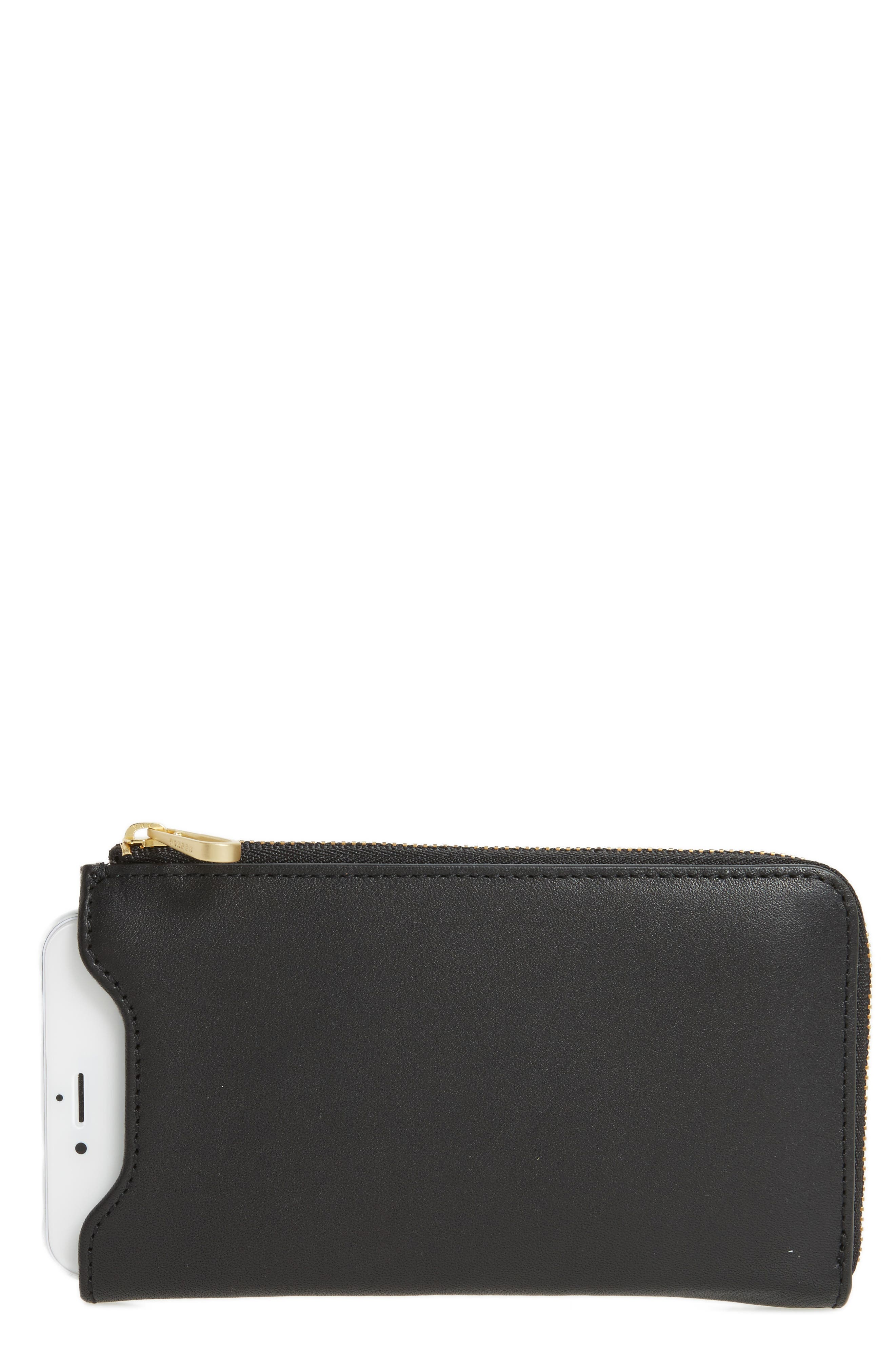 Lilli iPhone 6/6s/7 Leather Sleeve,                             Main thumbnail 1, color,                             Black