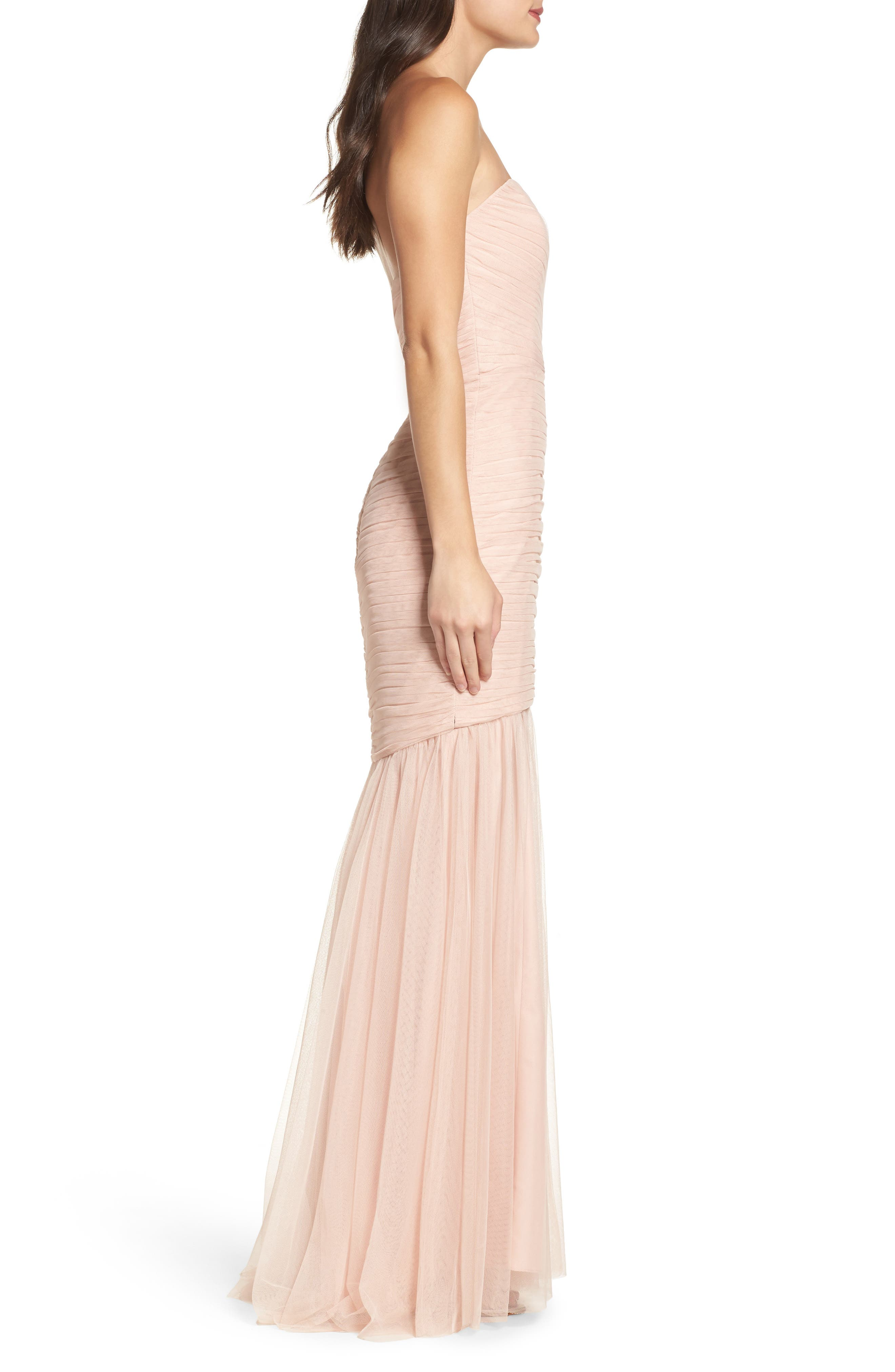 Alternate Image 3  - Amsale Strapless Crinkle Chiffon Gown