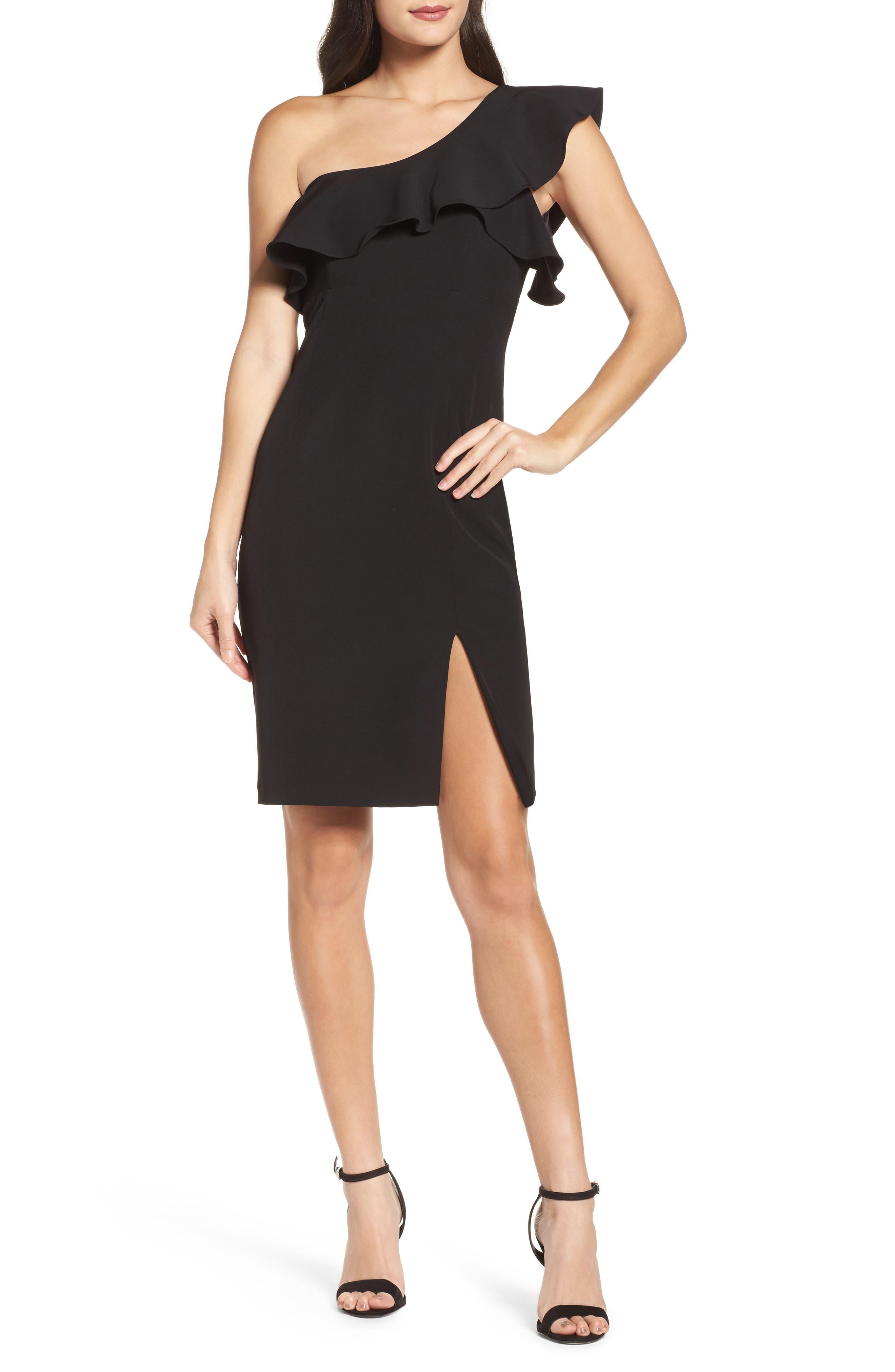 Bardot One-Shoulder Ruffle Sheath Dress
