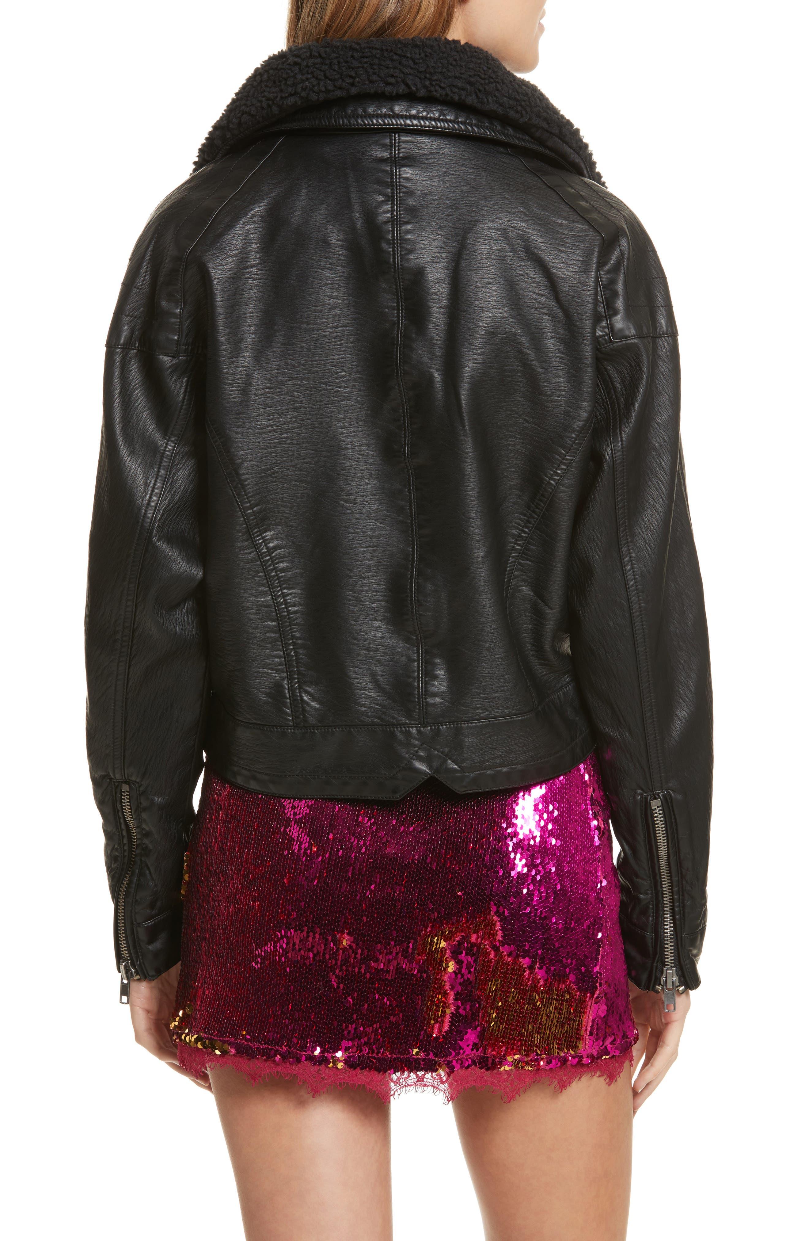 Halen Faux Leather Moto Jacket,                             Alternate thumbnail 2, color,                             Black