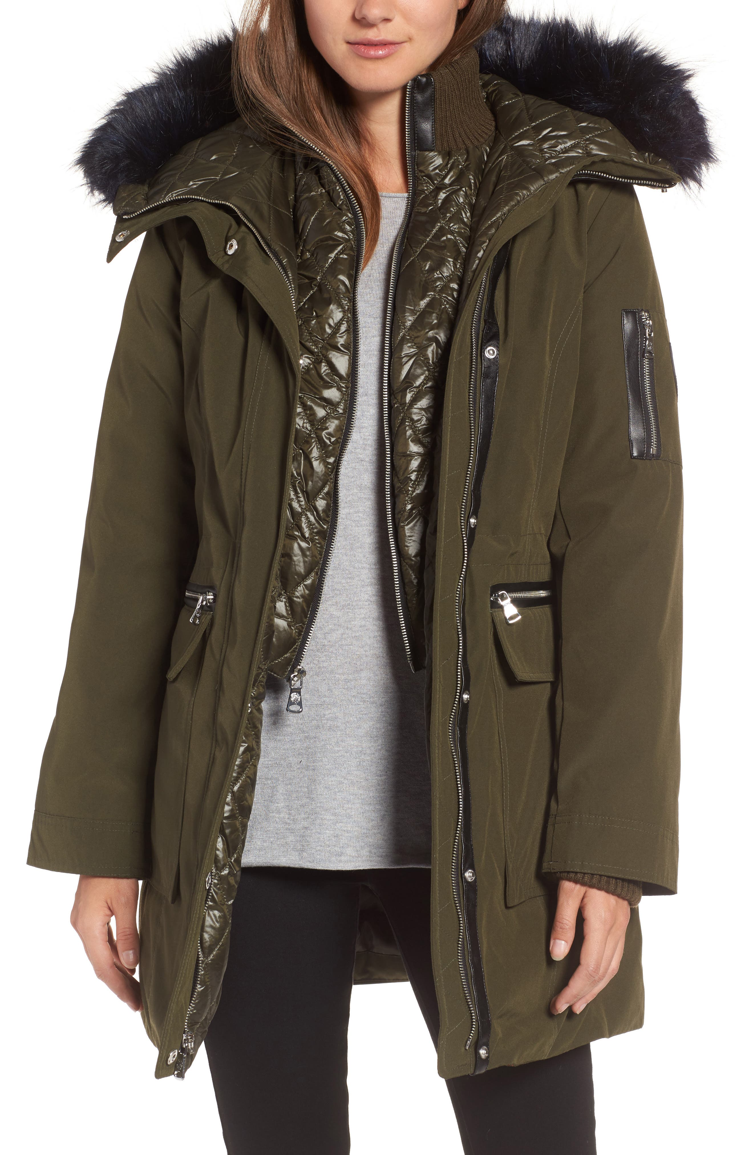 Bib Insert Down & Feather Fill Coat,                         Main,                         color, Olive