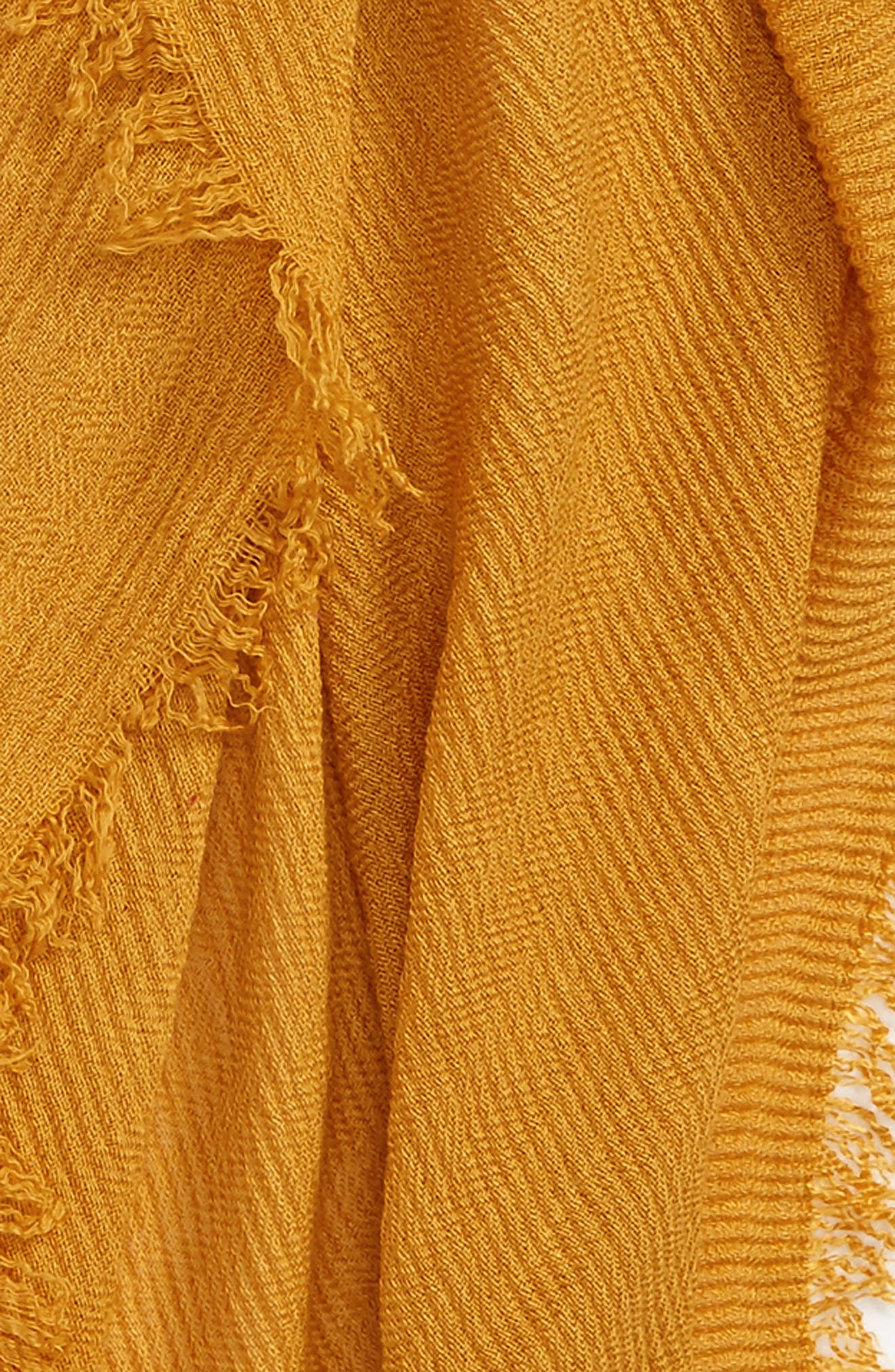 Pleated Fringe Scarf,                             Alternate thumbnail 3, color,                             Mustard