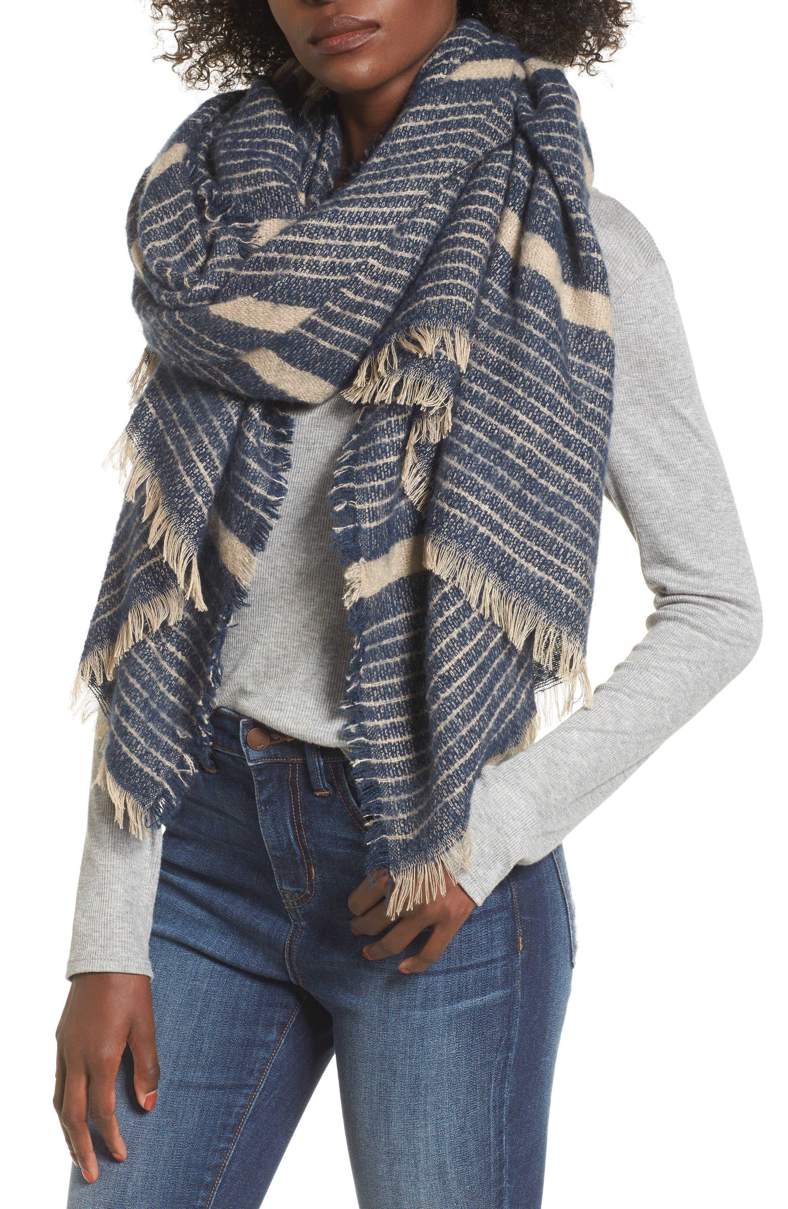 Stripe Blanket Scarf,                             Alternate thumbnail 4, color,                             Navy Combo