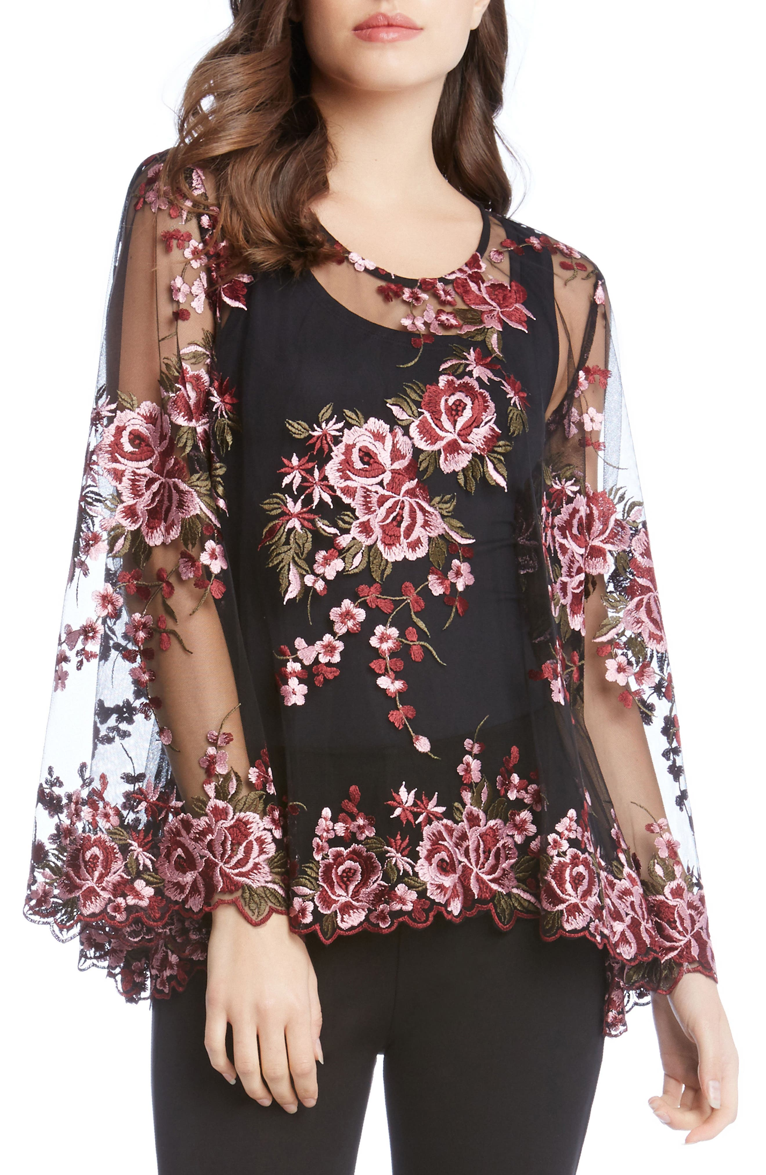 Embroidered Bell Sleeve Top,                         Main,                         color, Wine