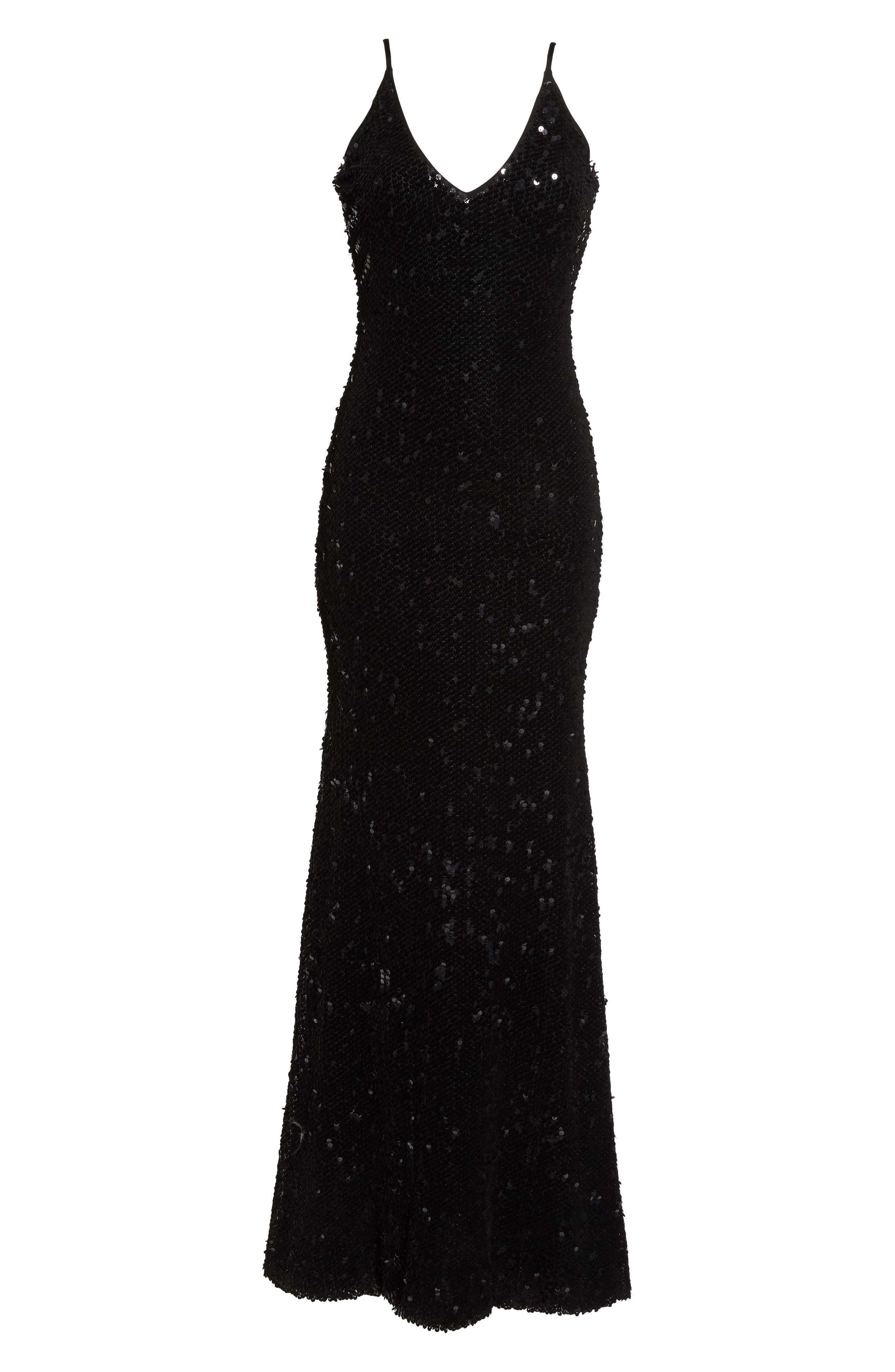 Vanessa Velvet Sequin Gown,                             Alternate thumbnail 7, color,                             Black