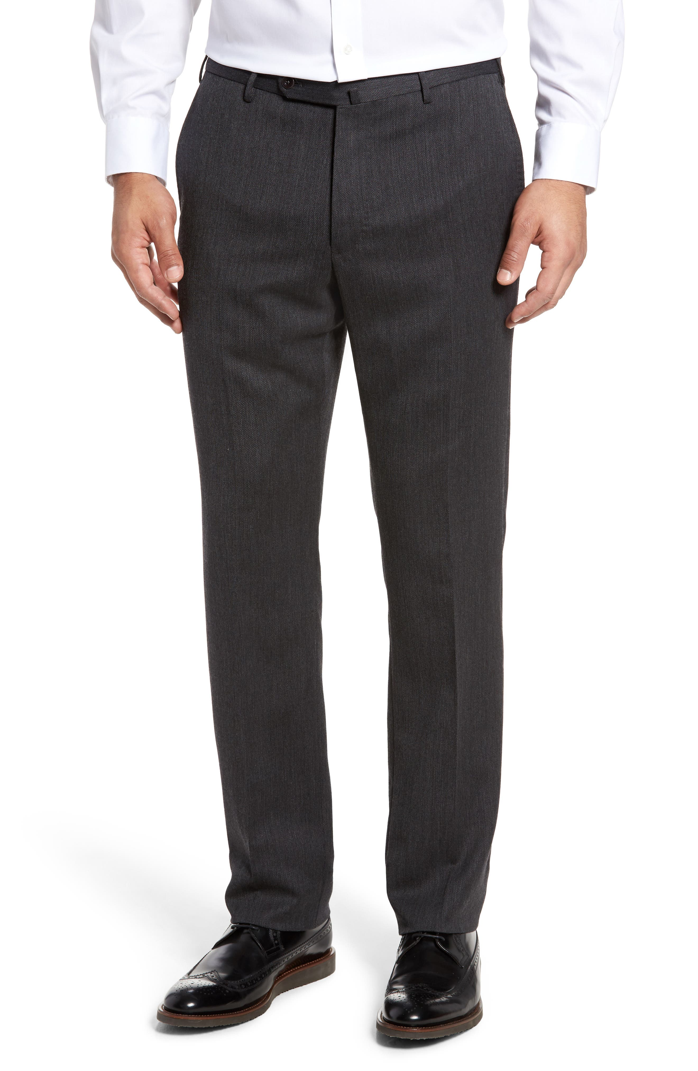 Benson Flat Front Wool Blend Trousers,                             Main thumbnail 1, color,                             Dark Grey