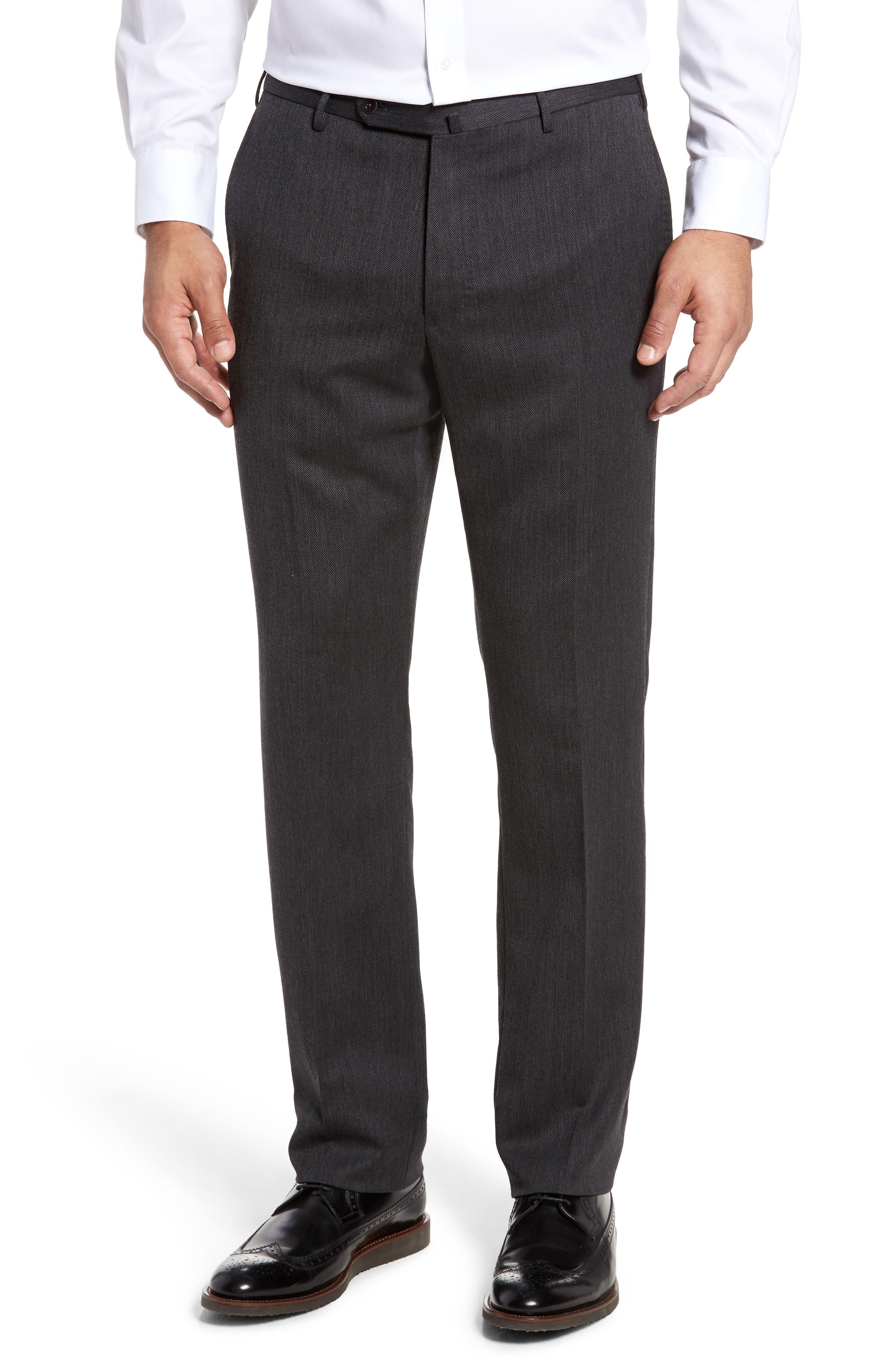 Benson Flat Front Wool Blend Trousers,                         Main,                         color, Dark Grey
