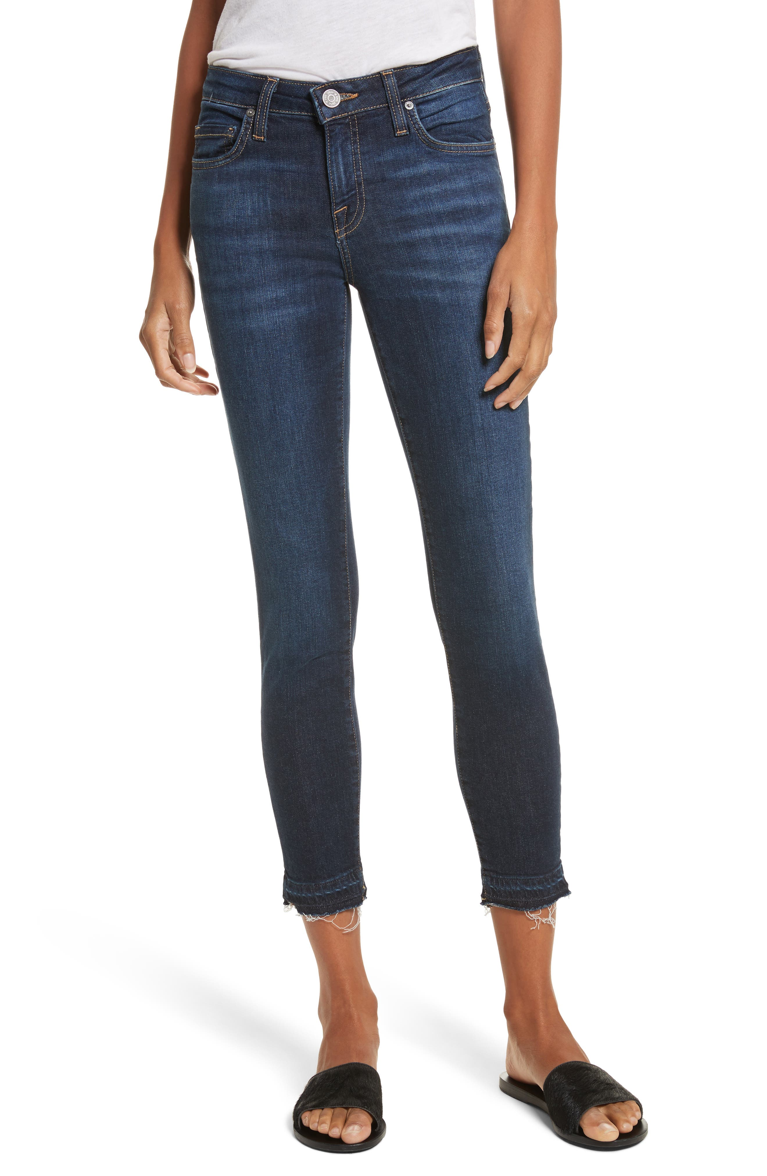 Ankle Skinny Jeans,                         Main,                         color, Indigo Raven With Release Hem