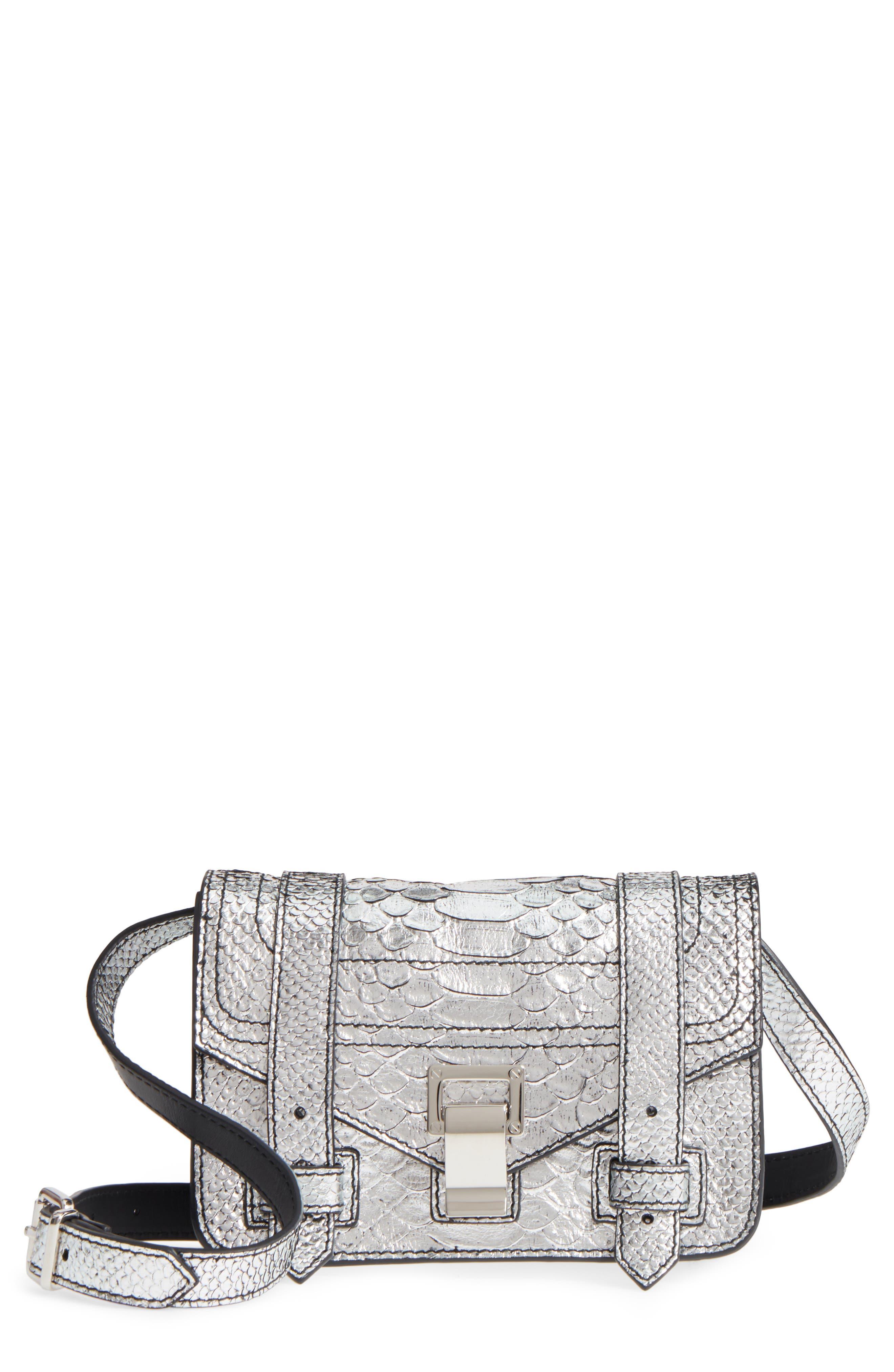 Main Image - Proenza Schouler Mini PS1 Snakeskin Embossed Metallic Leather Crossbody Bag