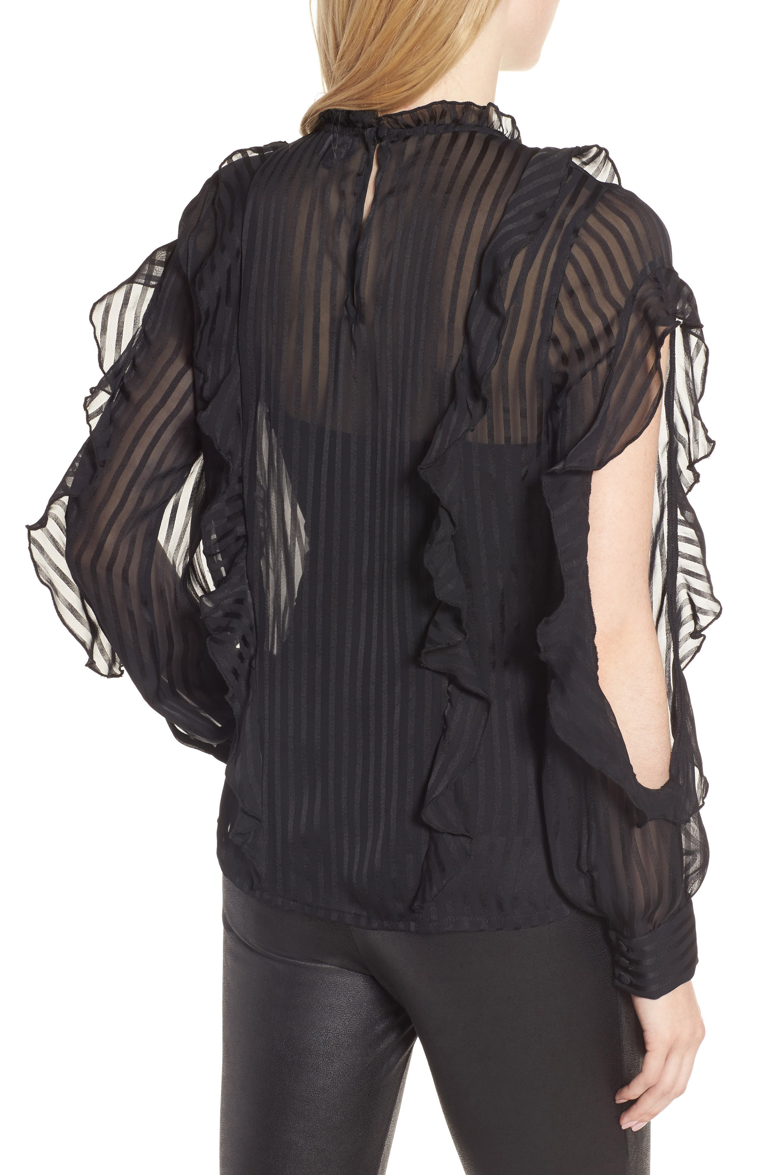 Midnight Sheer Blouse,                             Alternate thumbnail 3, color,                             Black