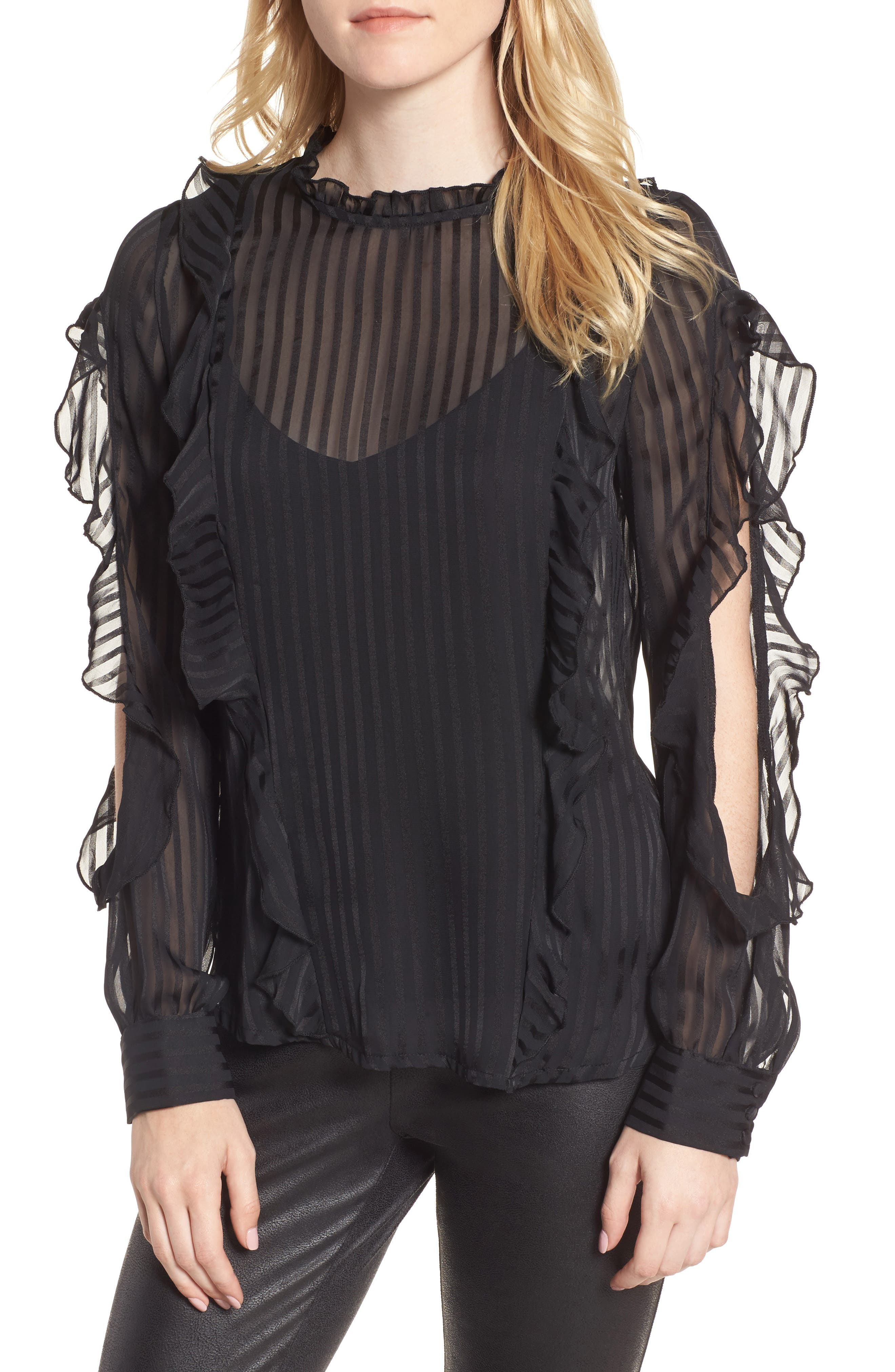 Midnight Sheer Blouse,                             Main thumbnail 1, color,                             Black