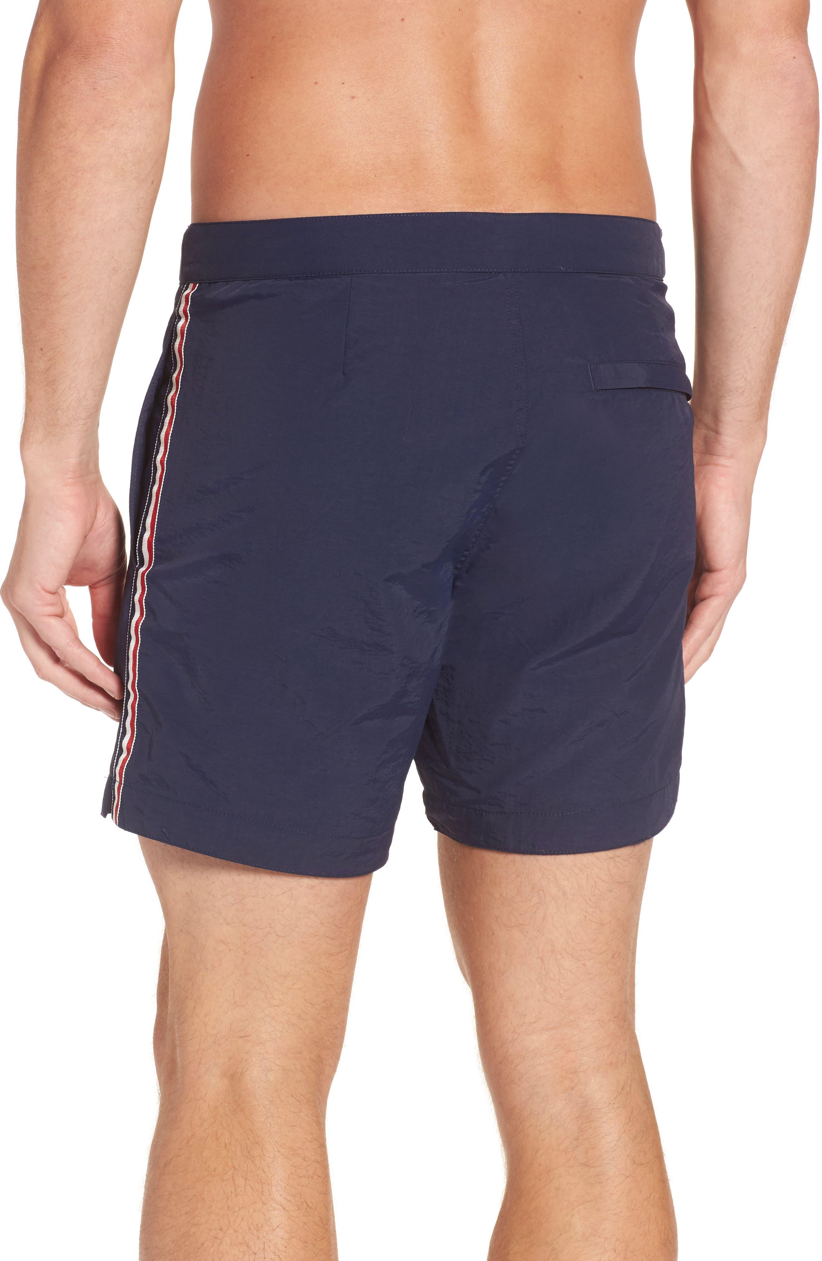 Aruba Tailored Fit French Stripe Swim Trunks,                             Alternate thumbnail 2, color,                             Navy French Stripes