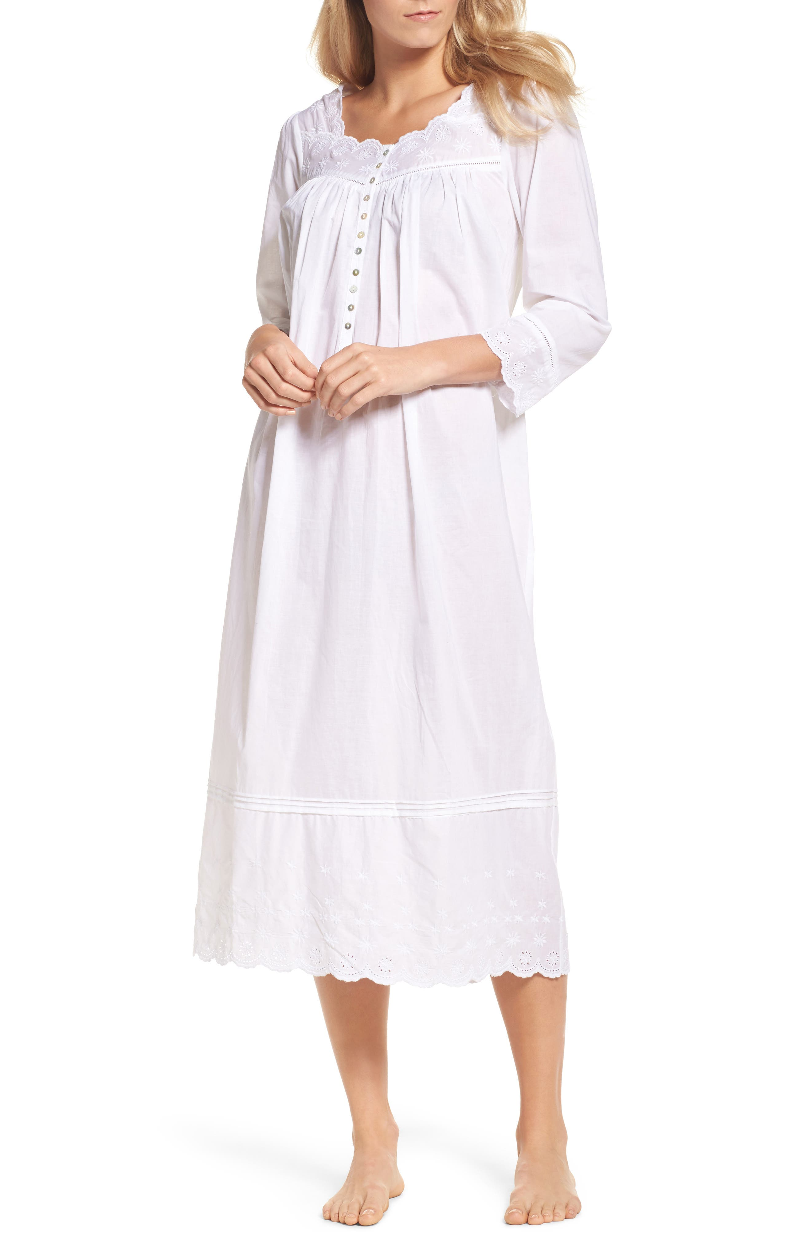 Eyelet Nightgown,                             Main thumbnail 1, color,                             White Floral
