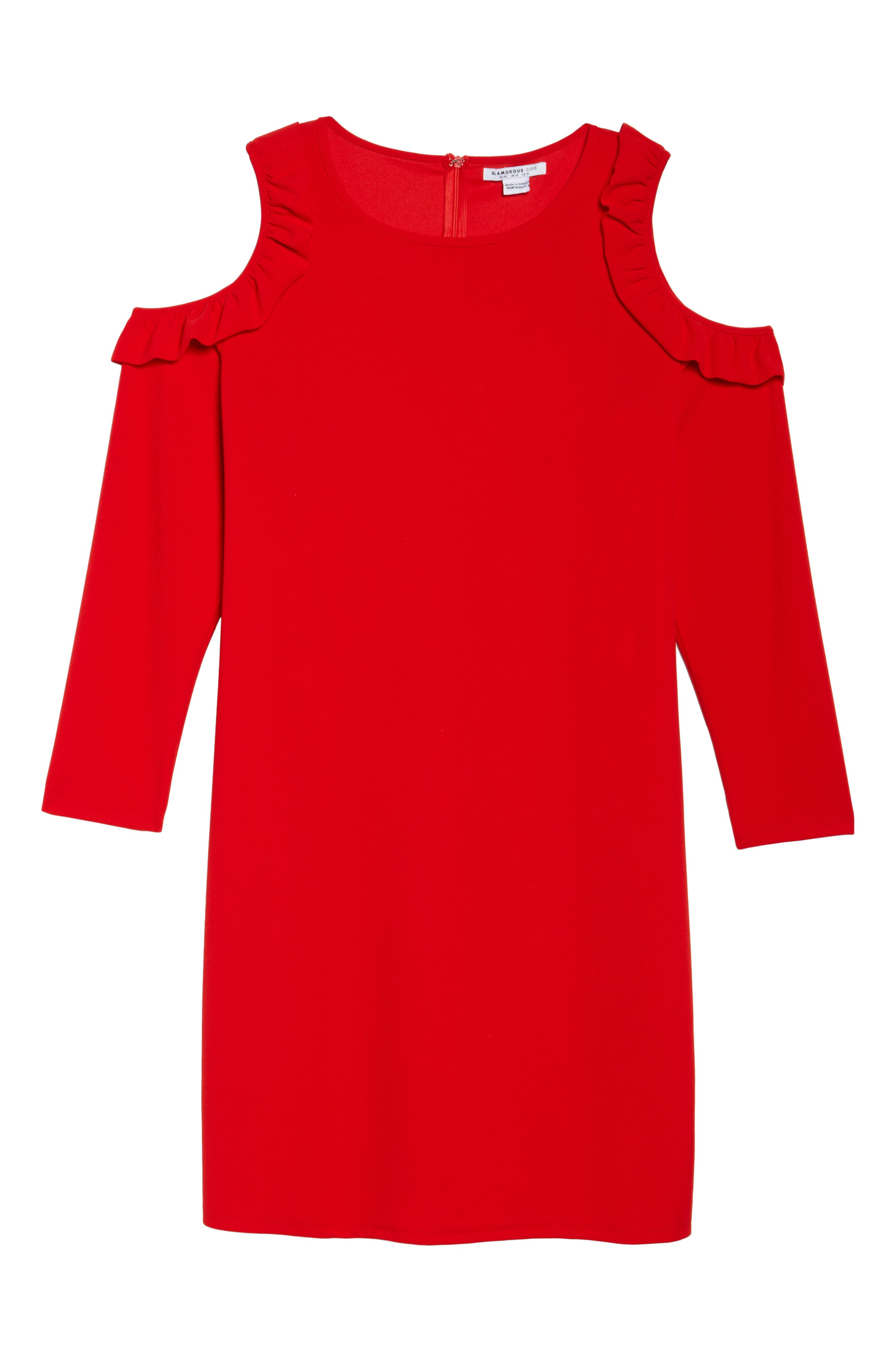 Cold Shoulder Knit Sheath Dress,                             Alternate thumbnail 6, color,                             Red