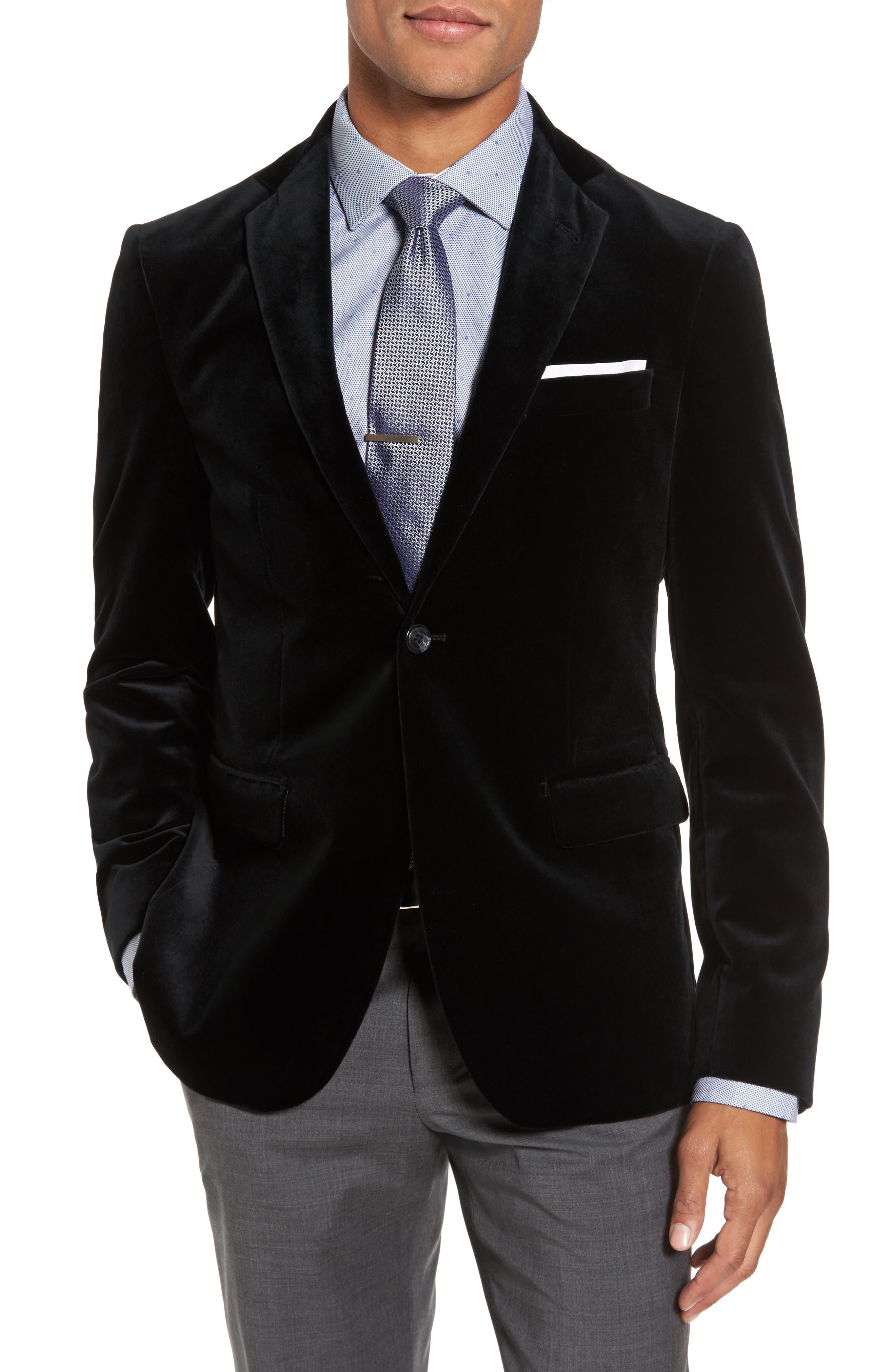 Noble Trim Fit Velvet Blazer,                         Main,                         color, Black Velvet