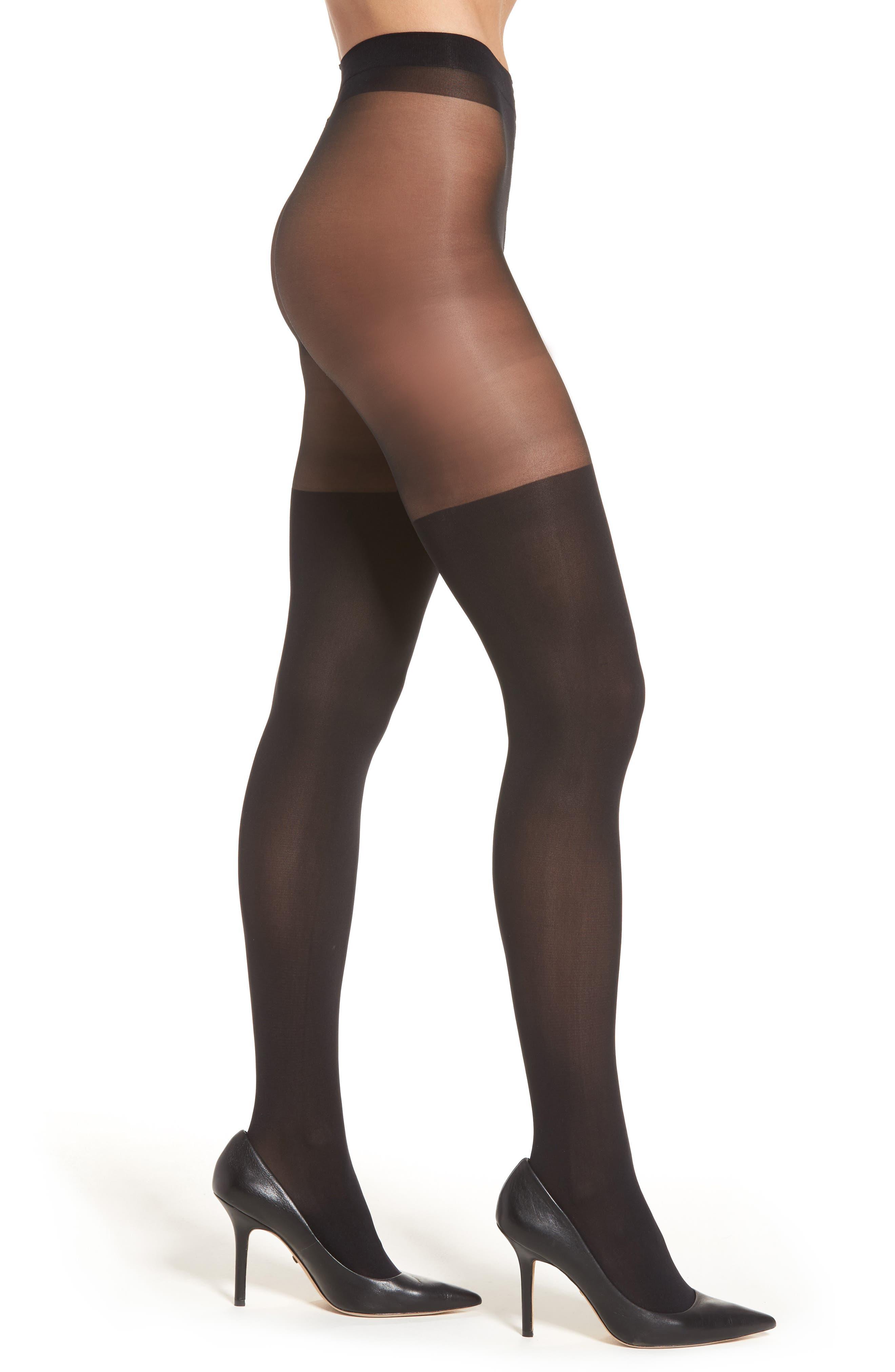 Illusion Thigh High Pantyhose,                         Main,                         color, Black