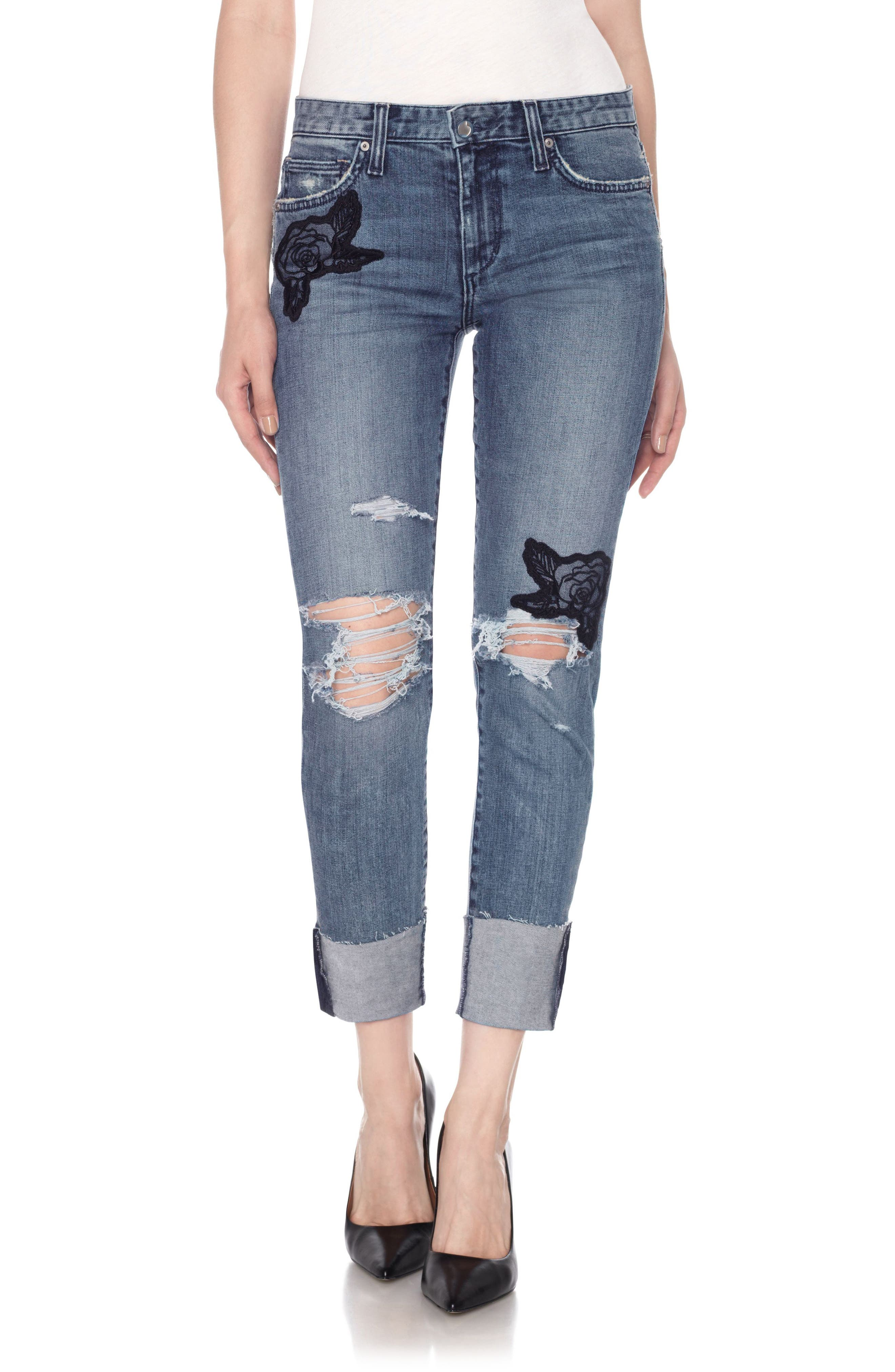 Smith High Waist Crop Slim Boyfriend Jeans,                             Main thumbnail 1, color,                             Shanti
