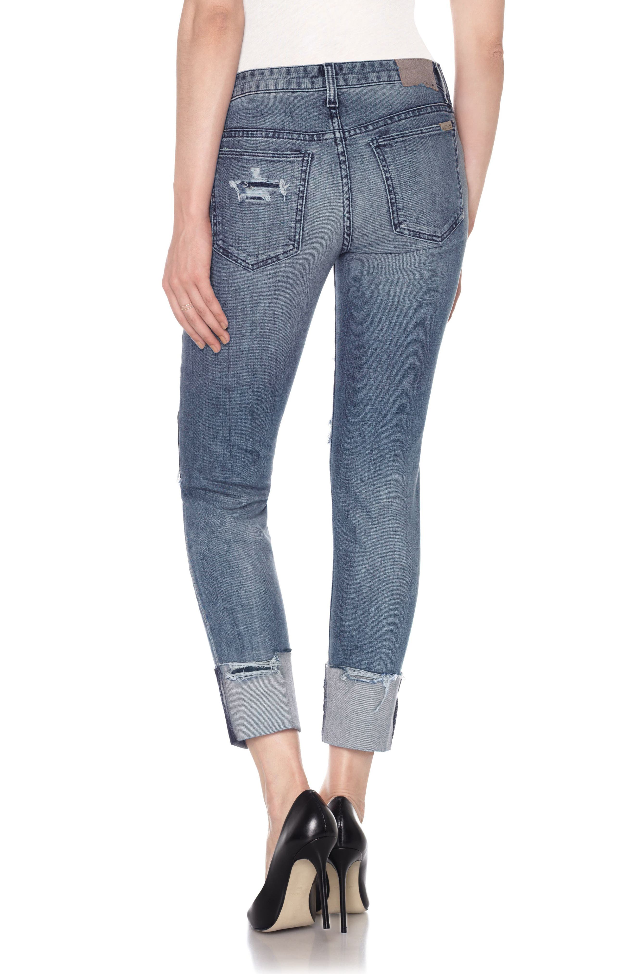 Smith High Waist Crop Slim Boyfriend Jeans,                             Alternate thumbnail 3, color,                             Shanti