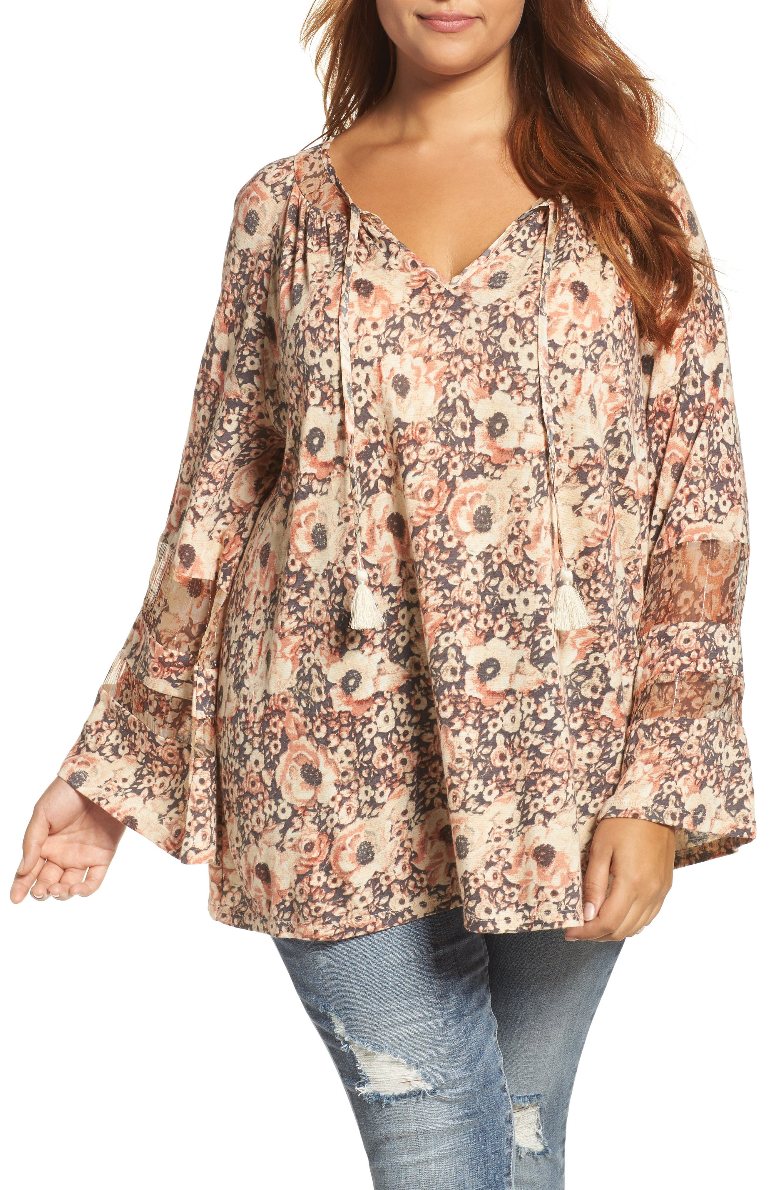 Lucky Brand Floral Mixed Media Top (Plus Size)