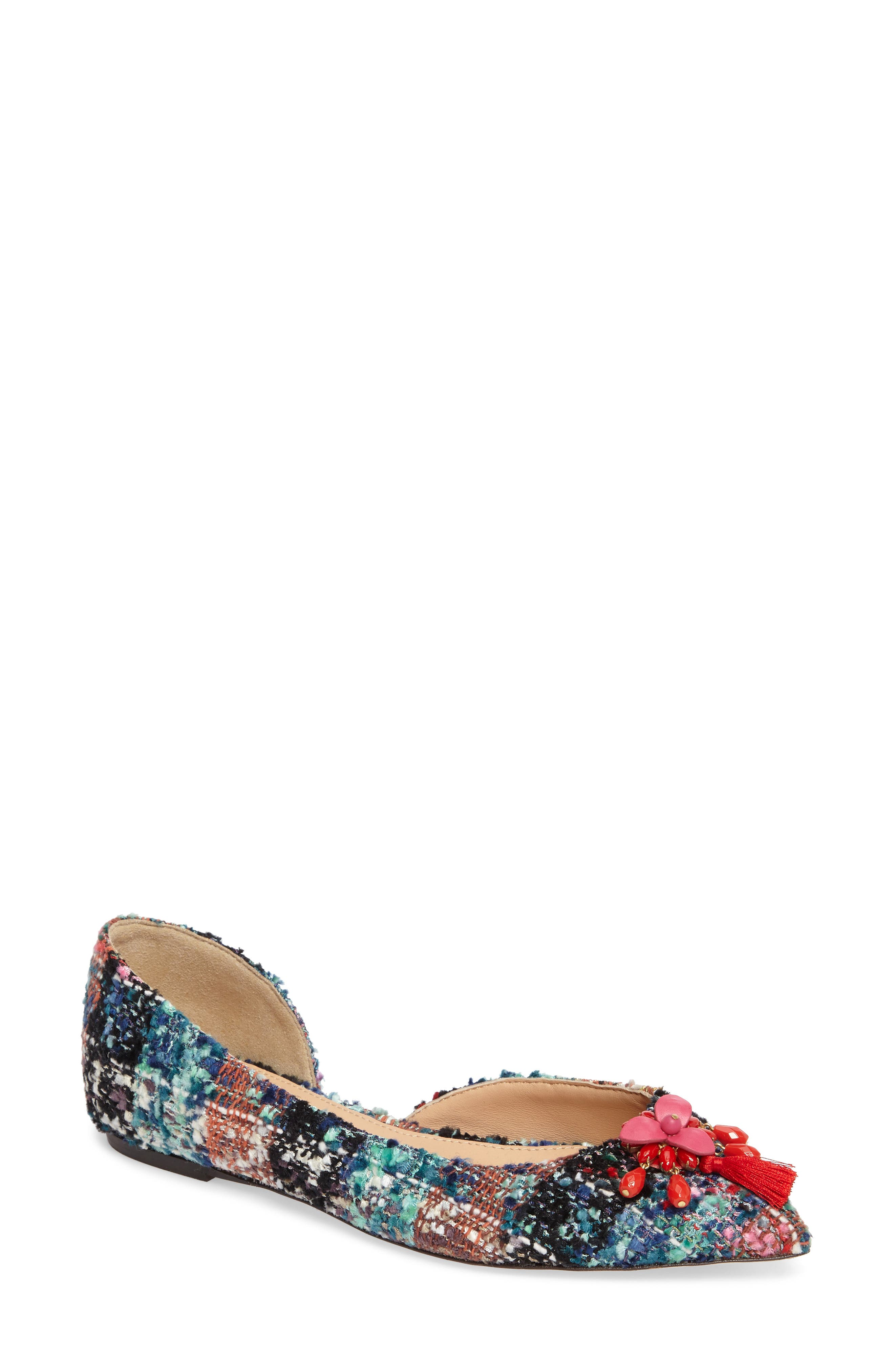 Sadie Pointy Toe Flat,                             Main thumbnail 1, color,                             Sundrenched Spearmint Fabric
