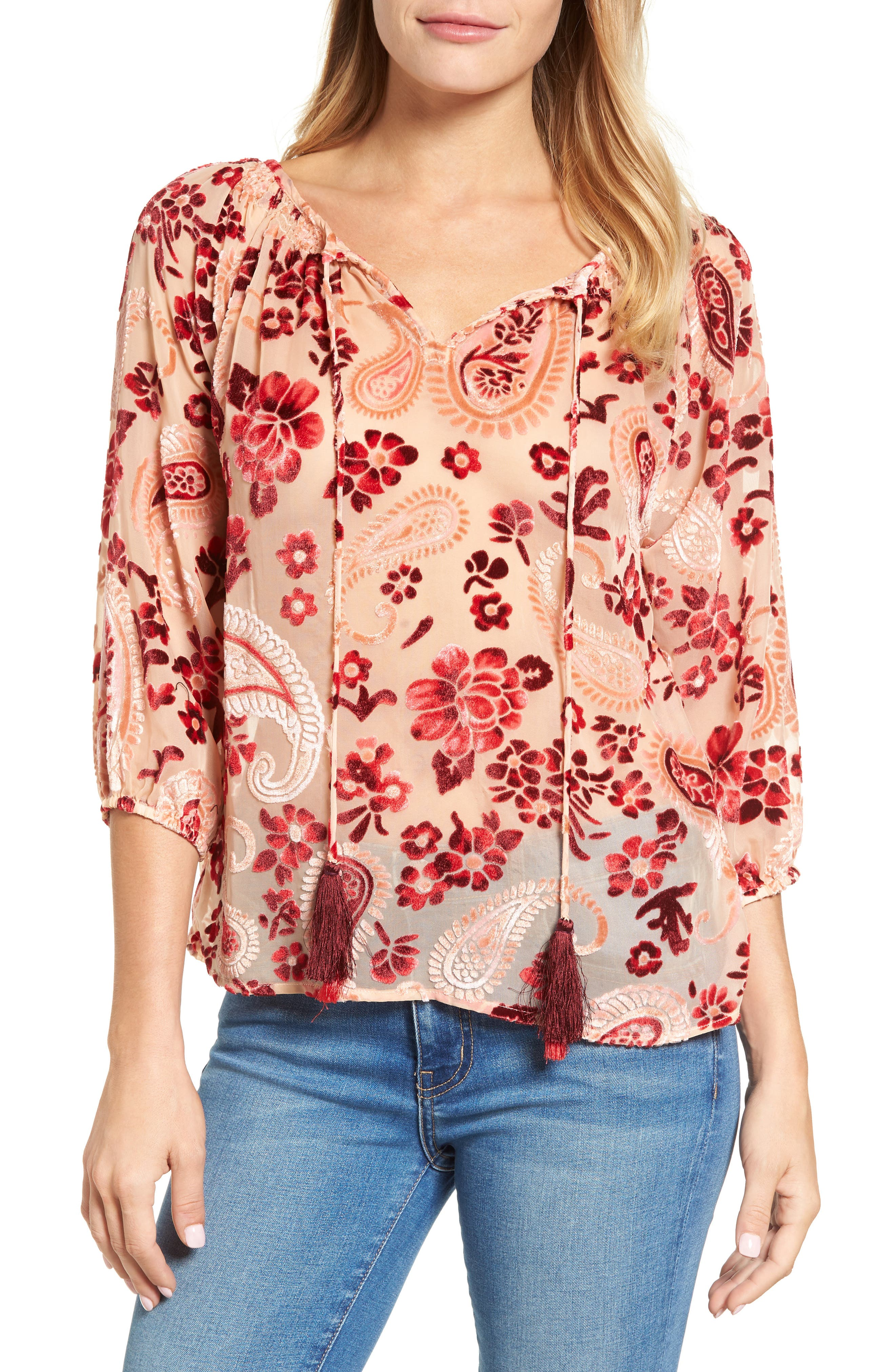 Alternate Image 1 Selected - KAS NEW YORK Carlene Velvet Burnout Top