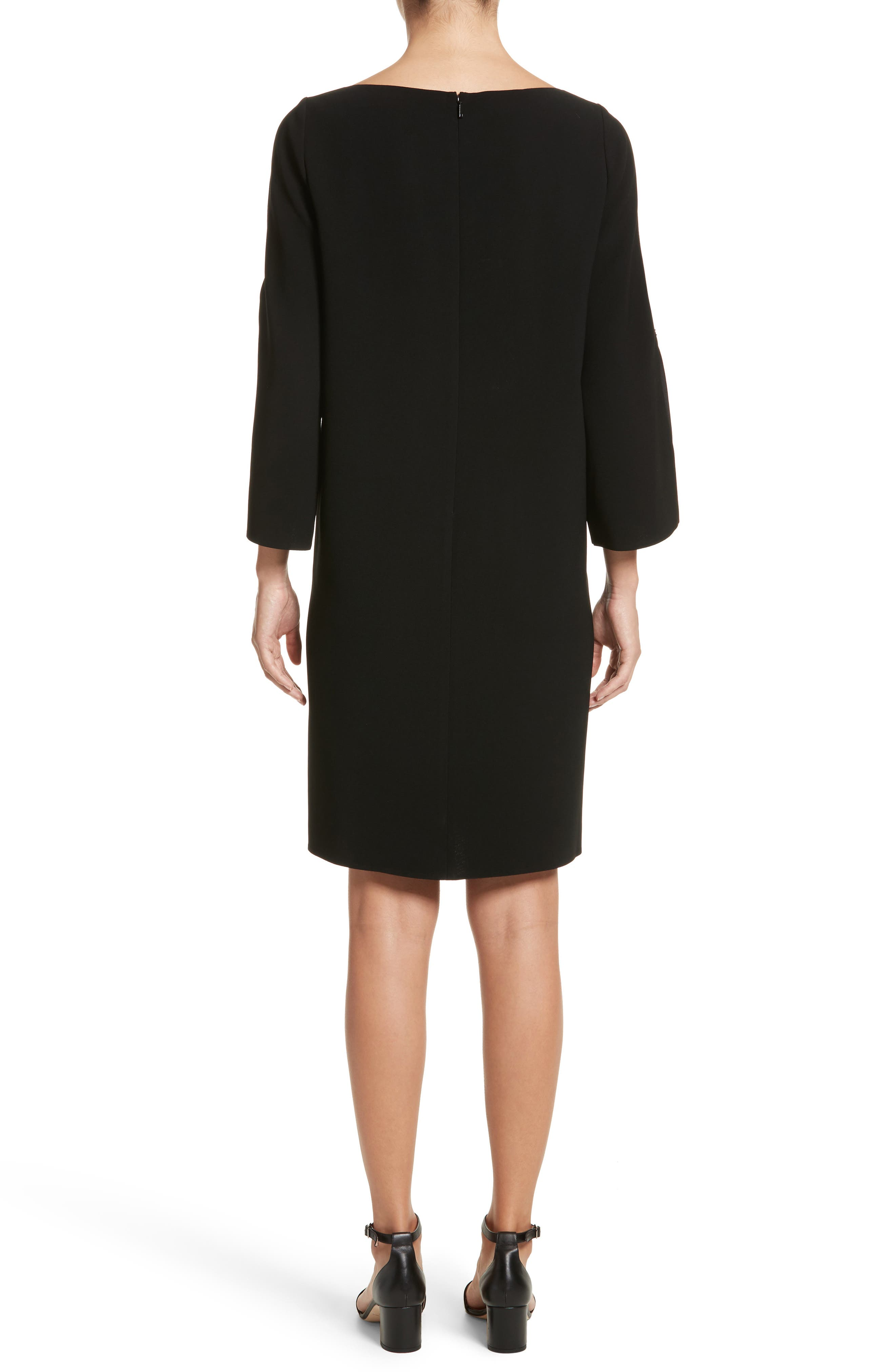 Candace Finesse Crepe Shift Dress,                             Alternate thumbnail 2, color,                             Black