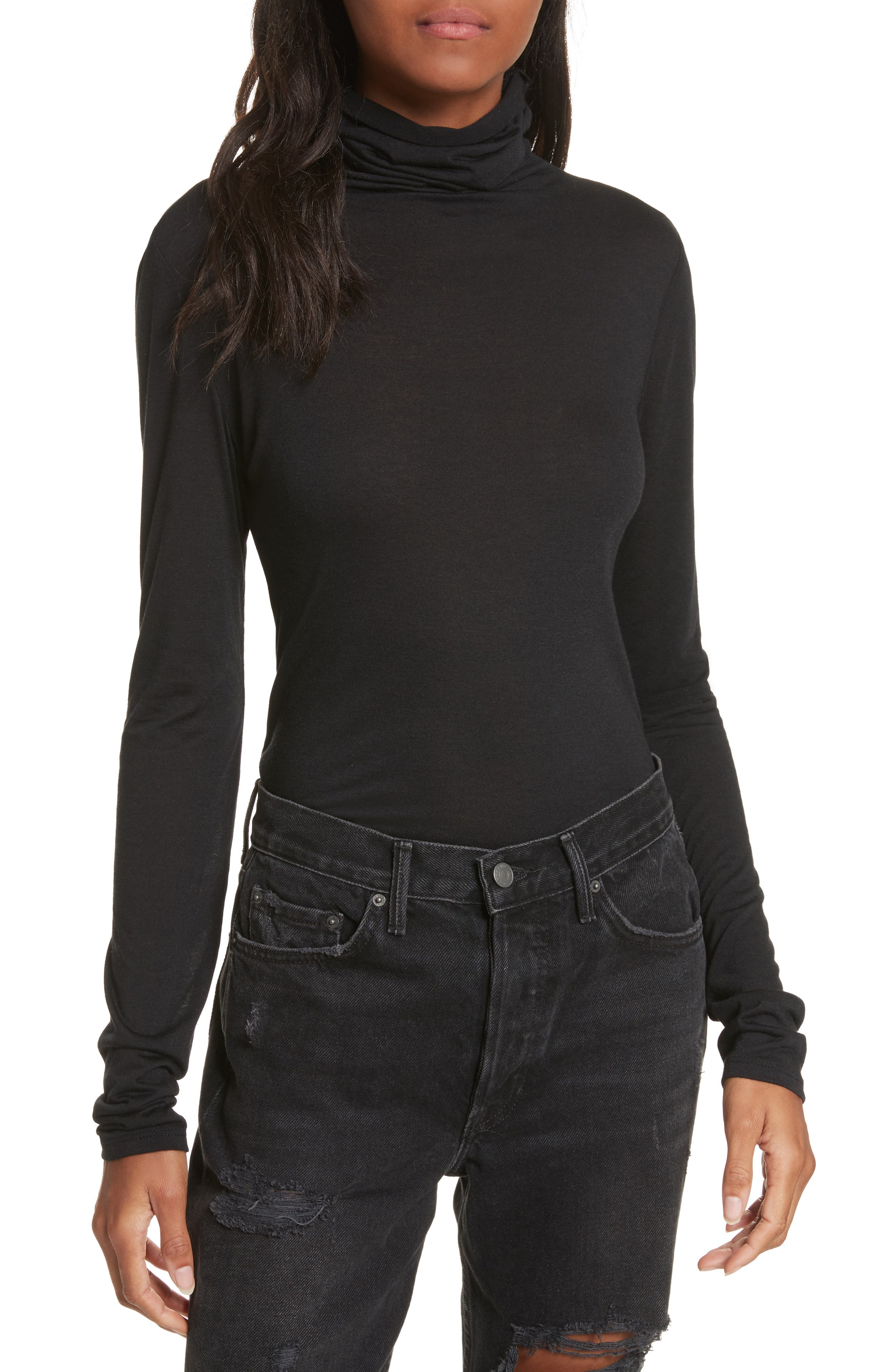 The Perfect Tee Turtleneck,                         Main,                         color, Black