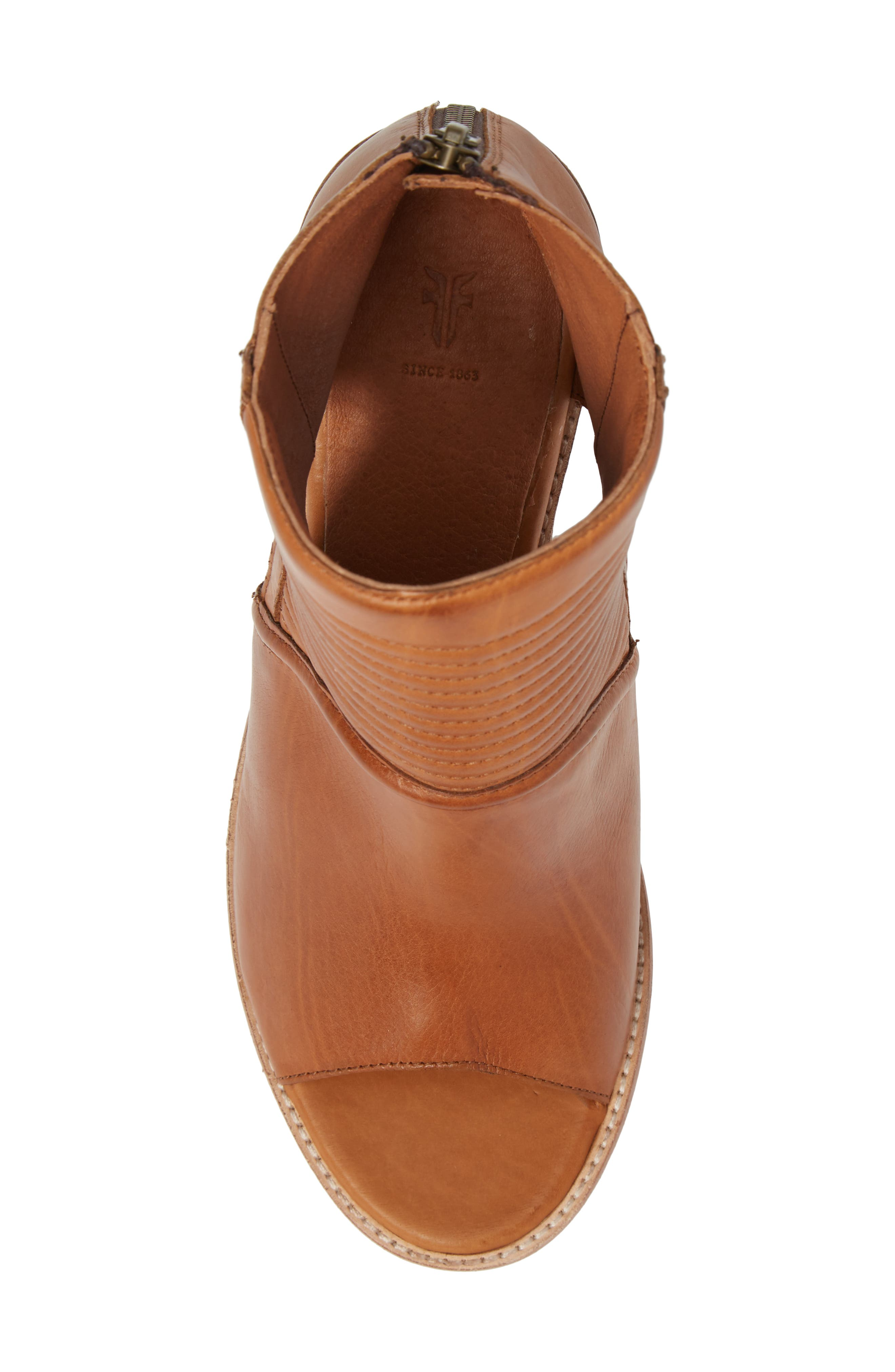 Bailey Quilted Peep Toe Bootie,                             Alternate thumbnail 5, color,                             Cognac