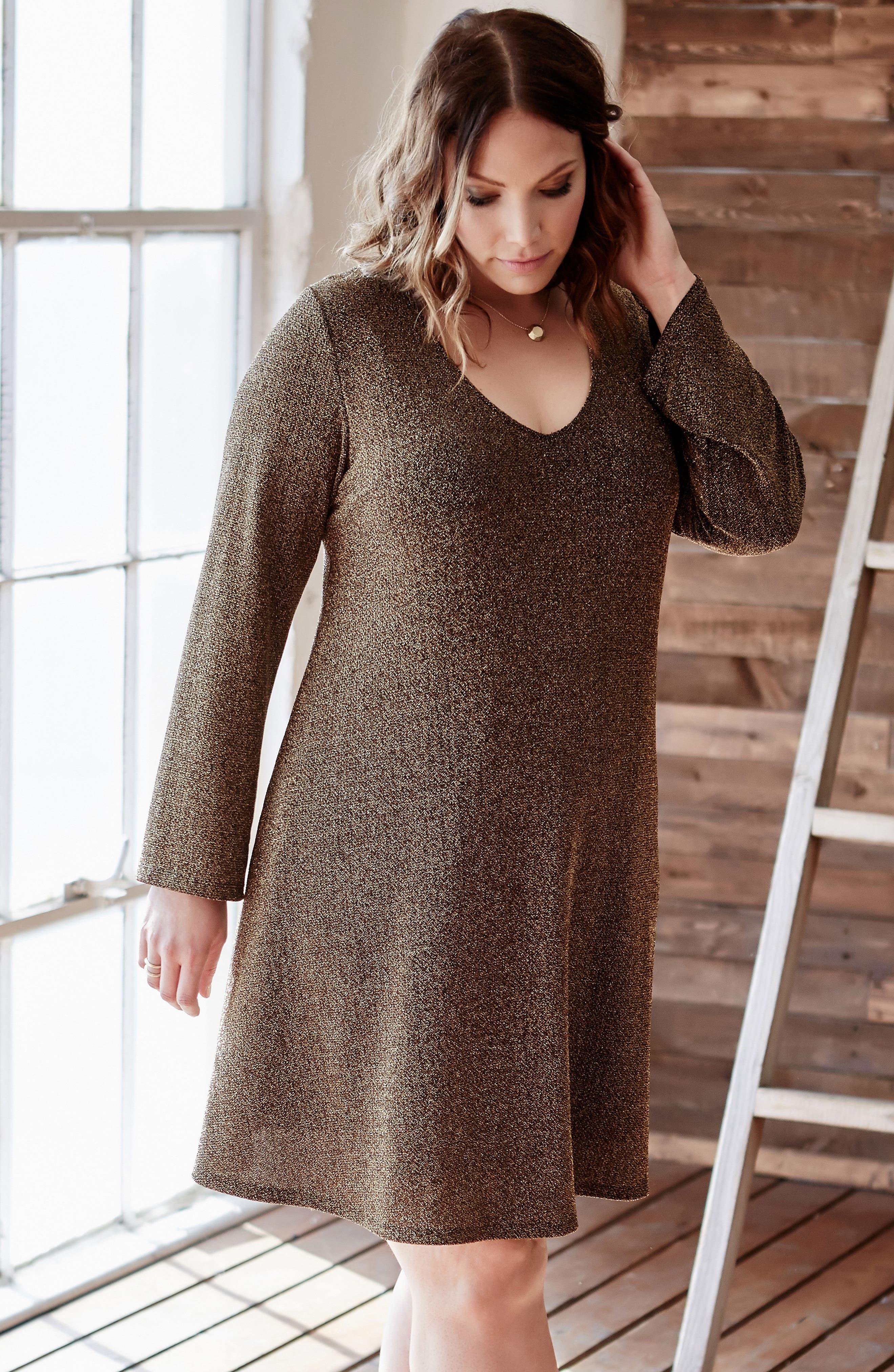 Taylor Gold Knit Dress,                             Alternate thumbnail 2, color,                             Gold