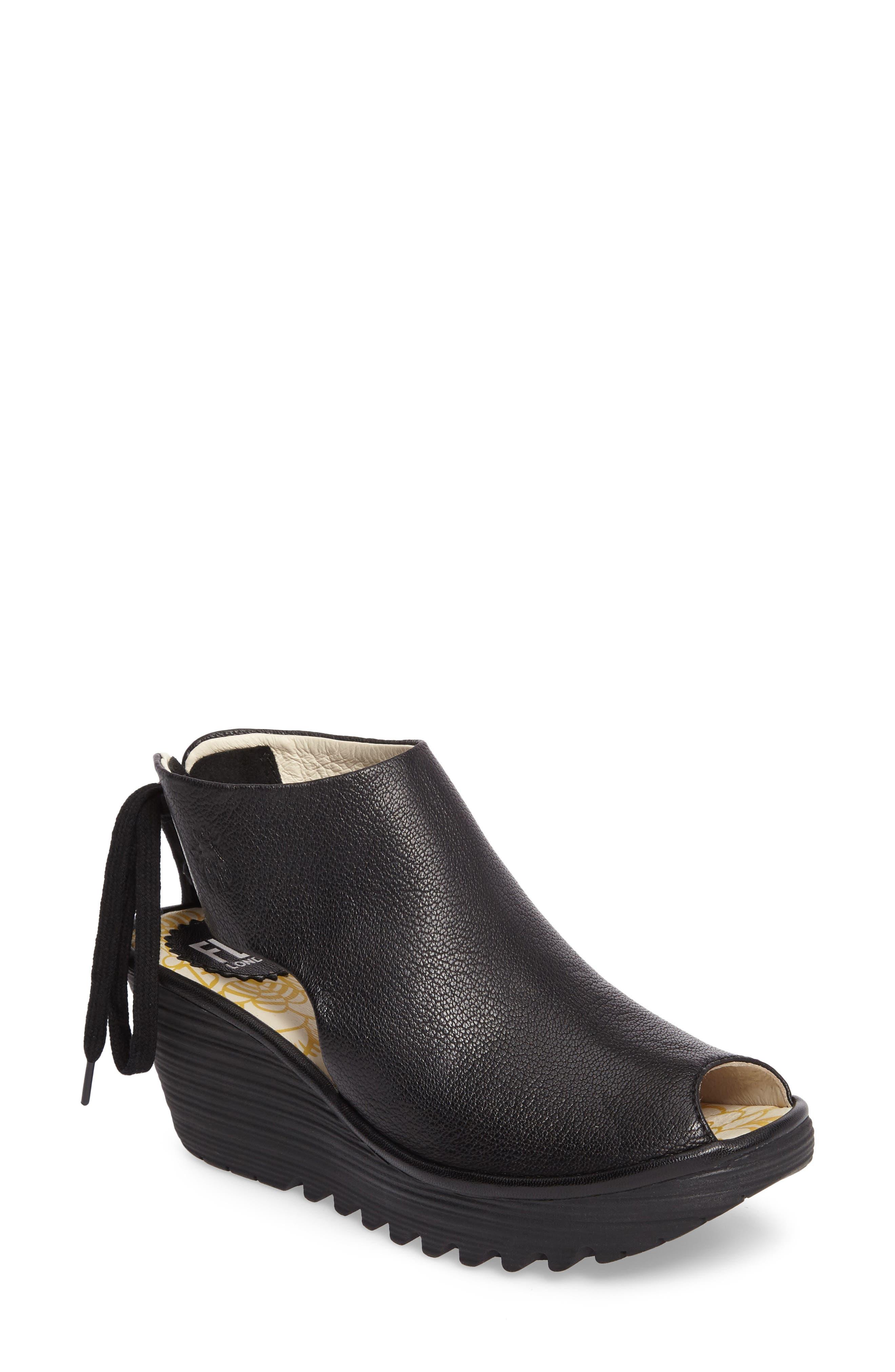Yuzu Wedge Sandal,                             Main thumbnail 1, color,                             Black Mousse Leather
