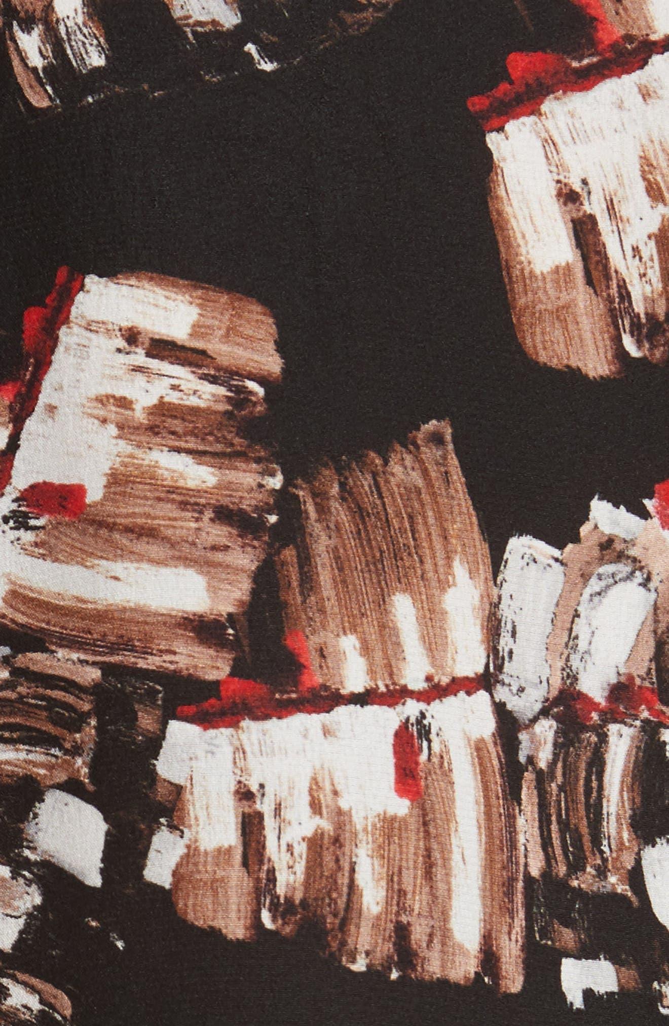 Desra Print Silk Blouse,                             Alternate thumbnail 5, color,                             Black Multi