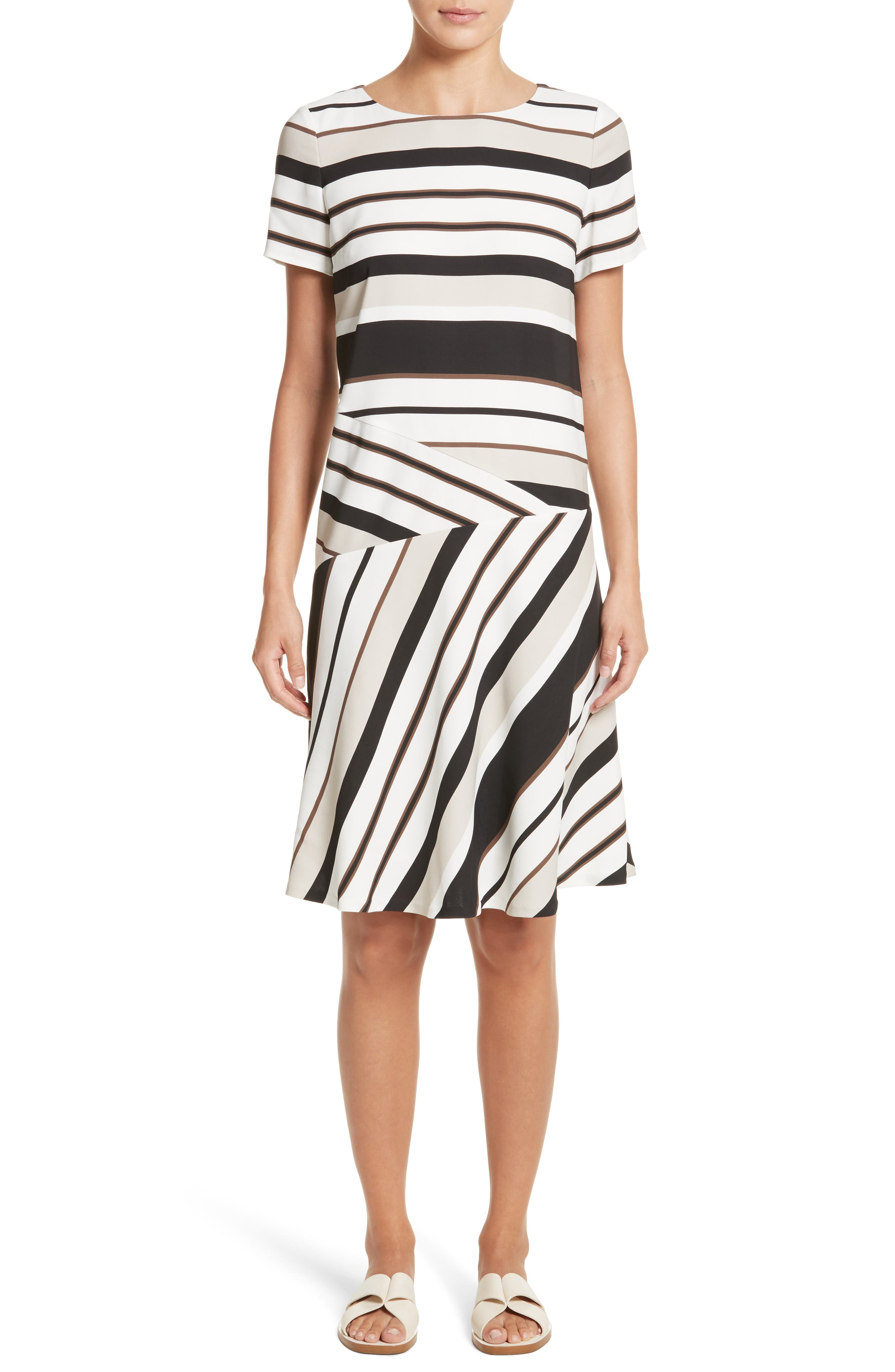 Lafayette 148 New York Greta Stripe Drop Waist Dress