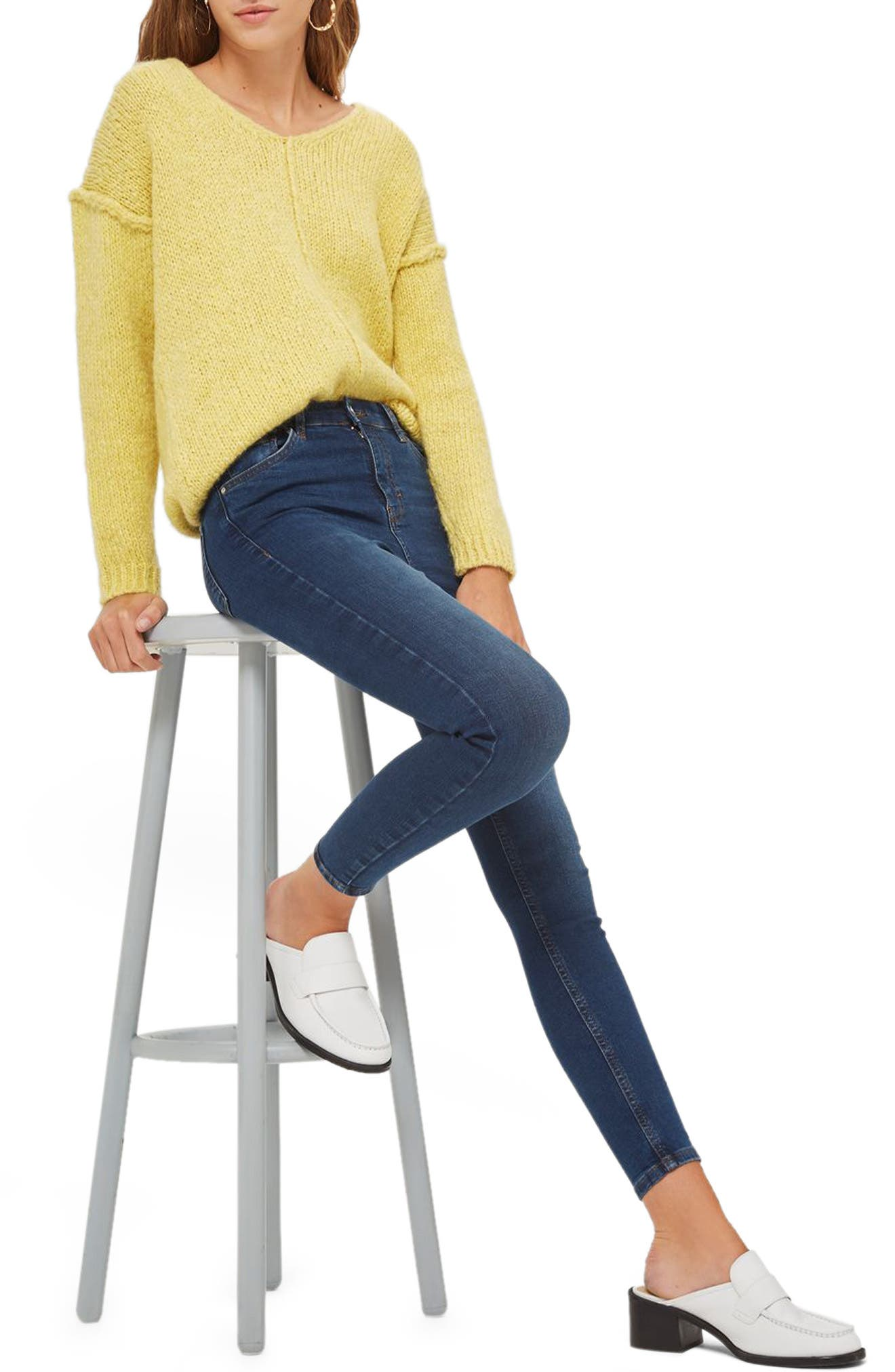 Main Image - Topshop Jamie High Rise Ankle Skinny Jeans