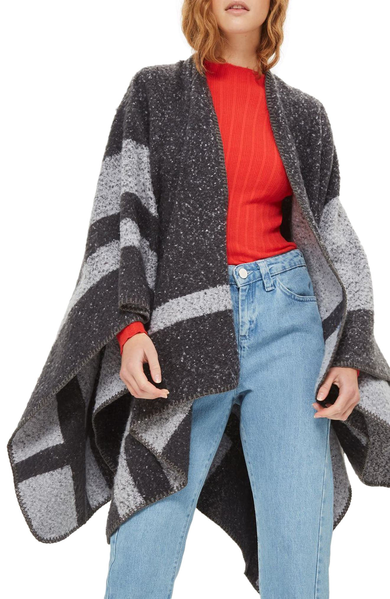 Alternate Image 1 Selected - Topshop Colorblock Cape