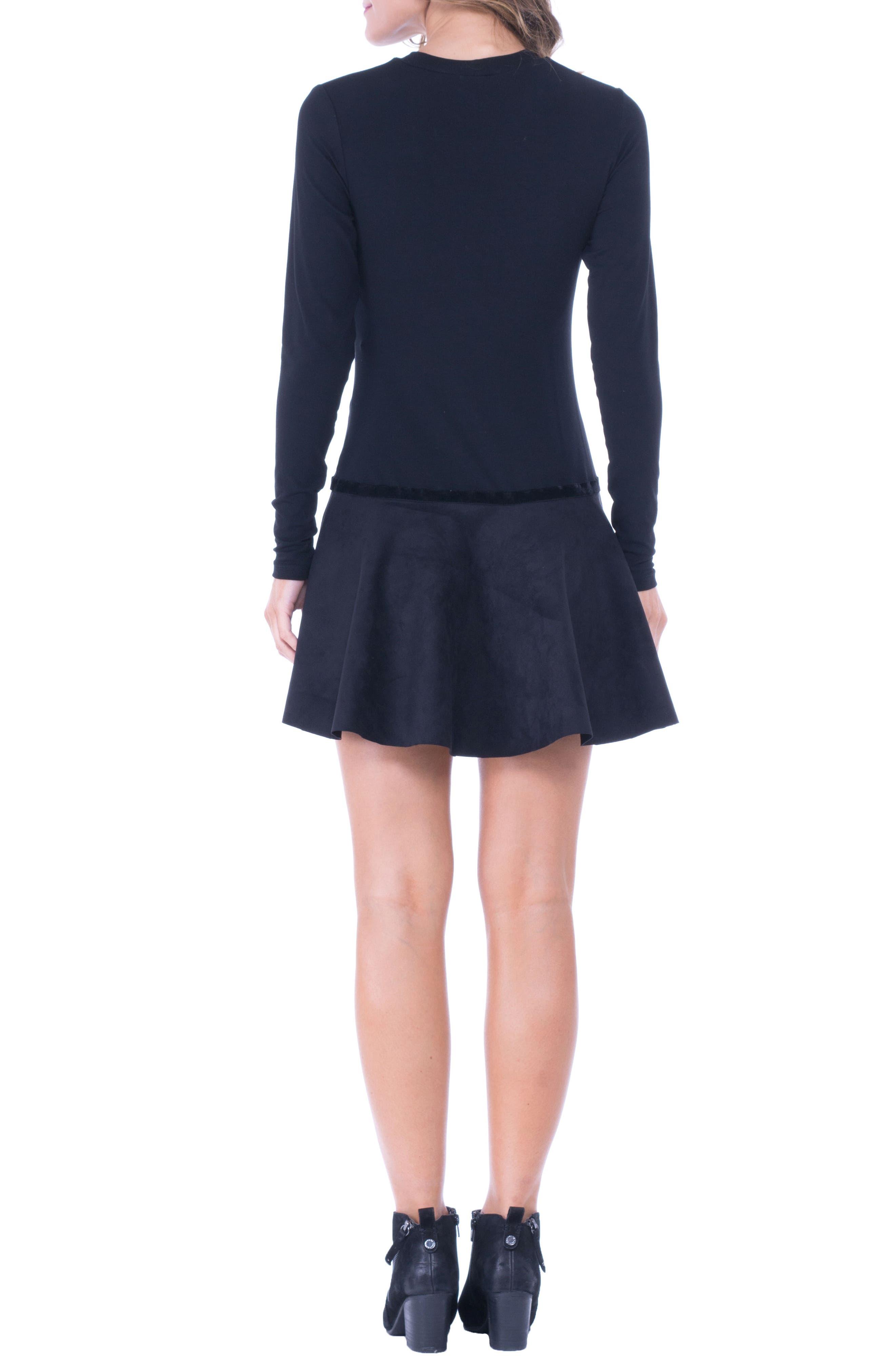 Alternate Image 3  - Olian Faux Suede Skirt Maternity Skater Dress