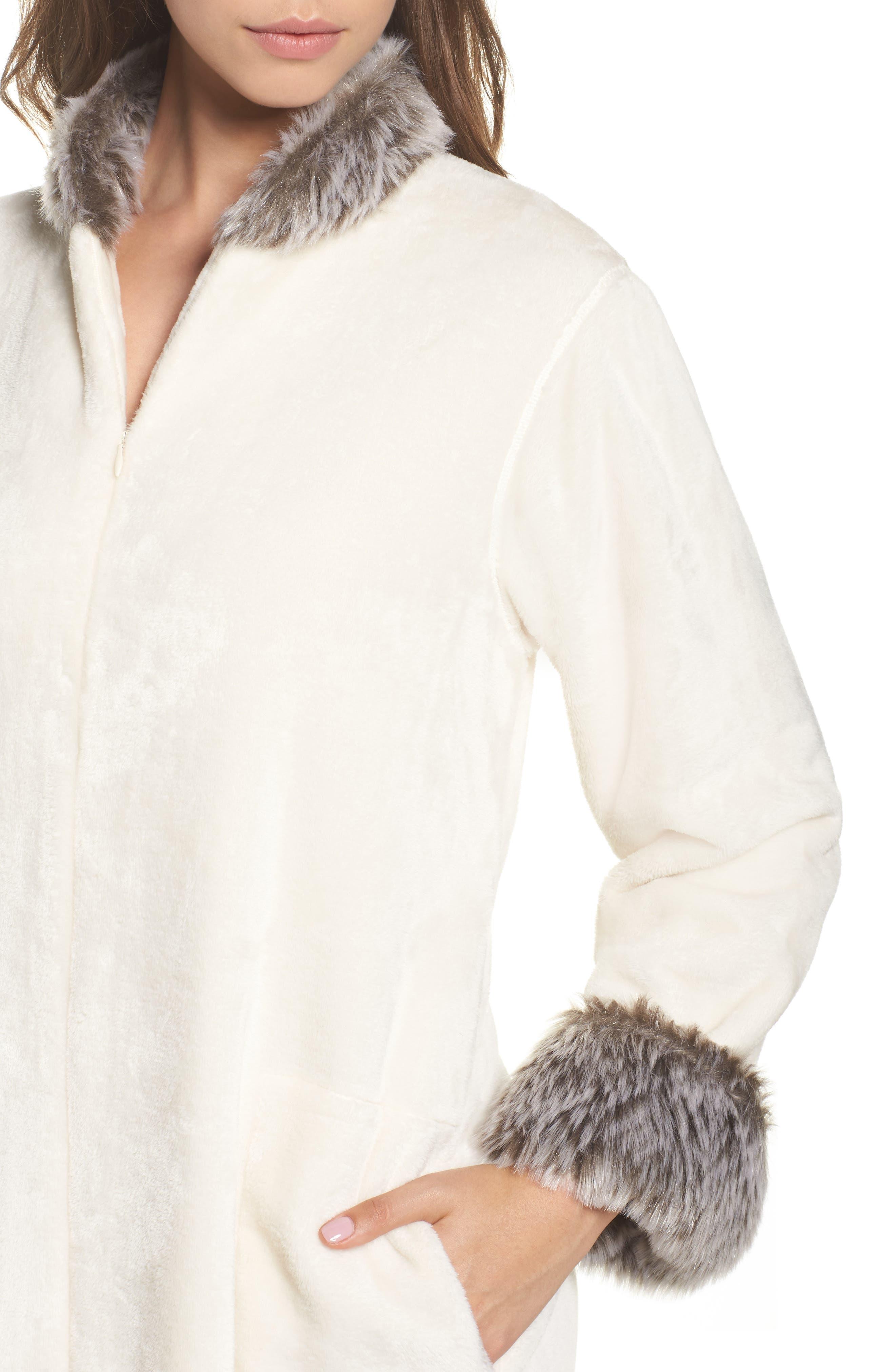 Fleece & Faux Fur Caftan,                             Alternate thumbnail 5, color,                             Alabaster/ Bark