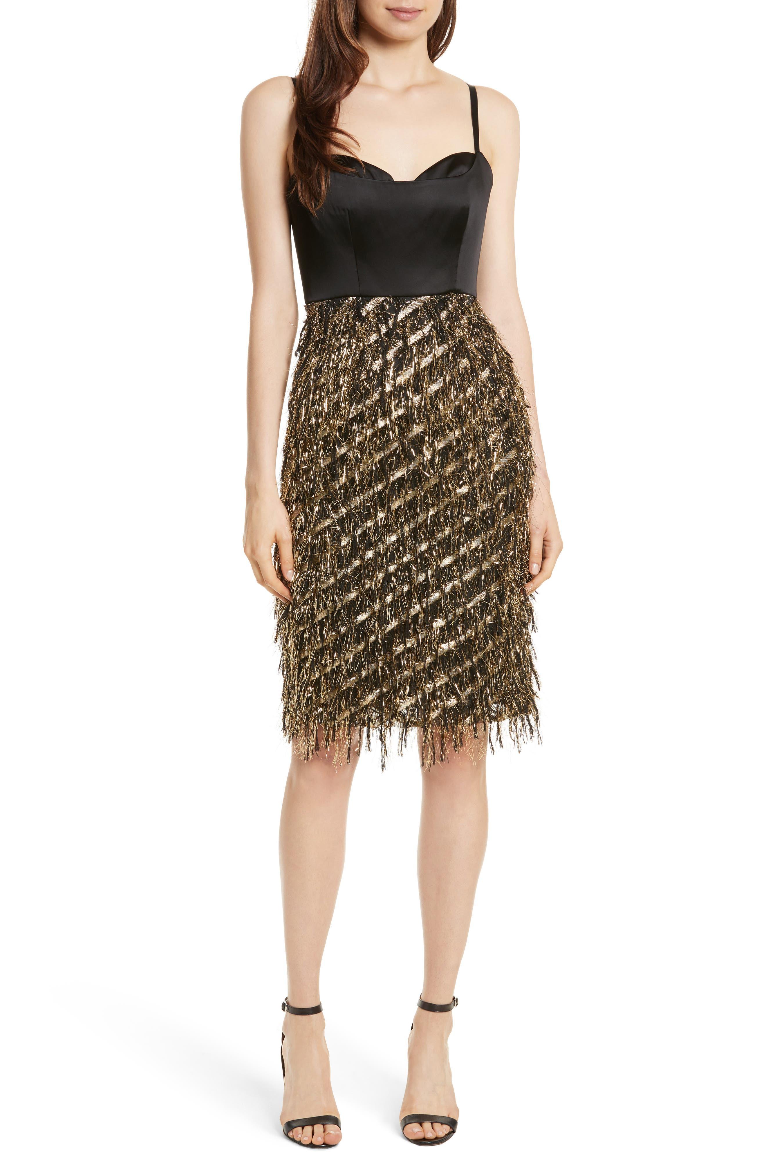 Tara Diagonal Metallic Dress,                         Main,                         color, Black