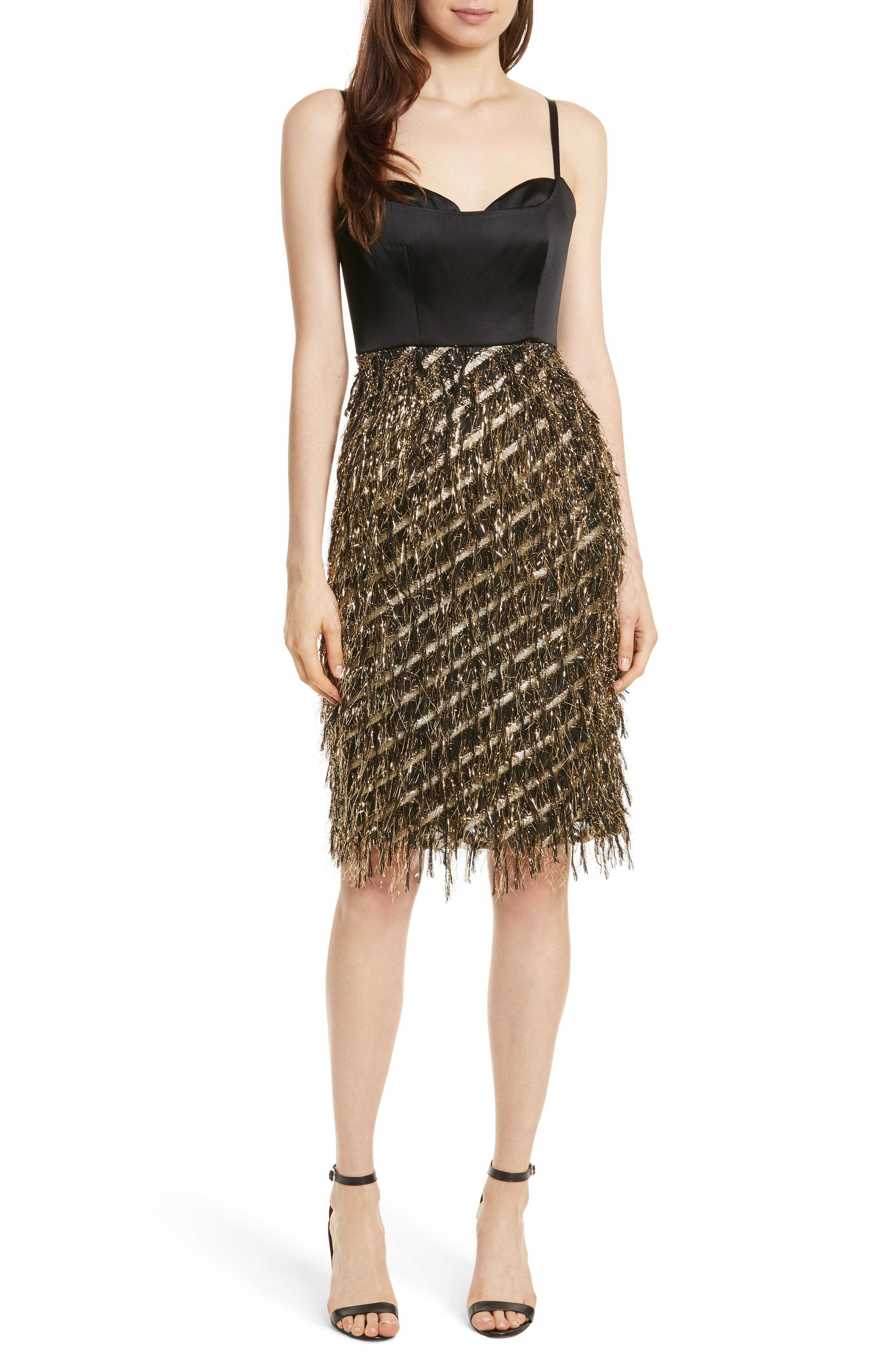 Milly Tara Diagonal Metallic Dress